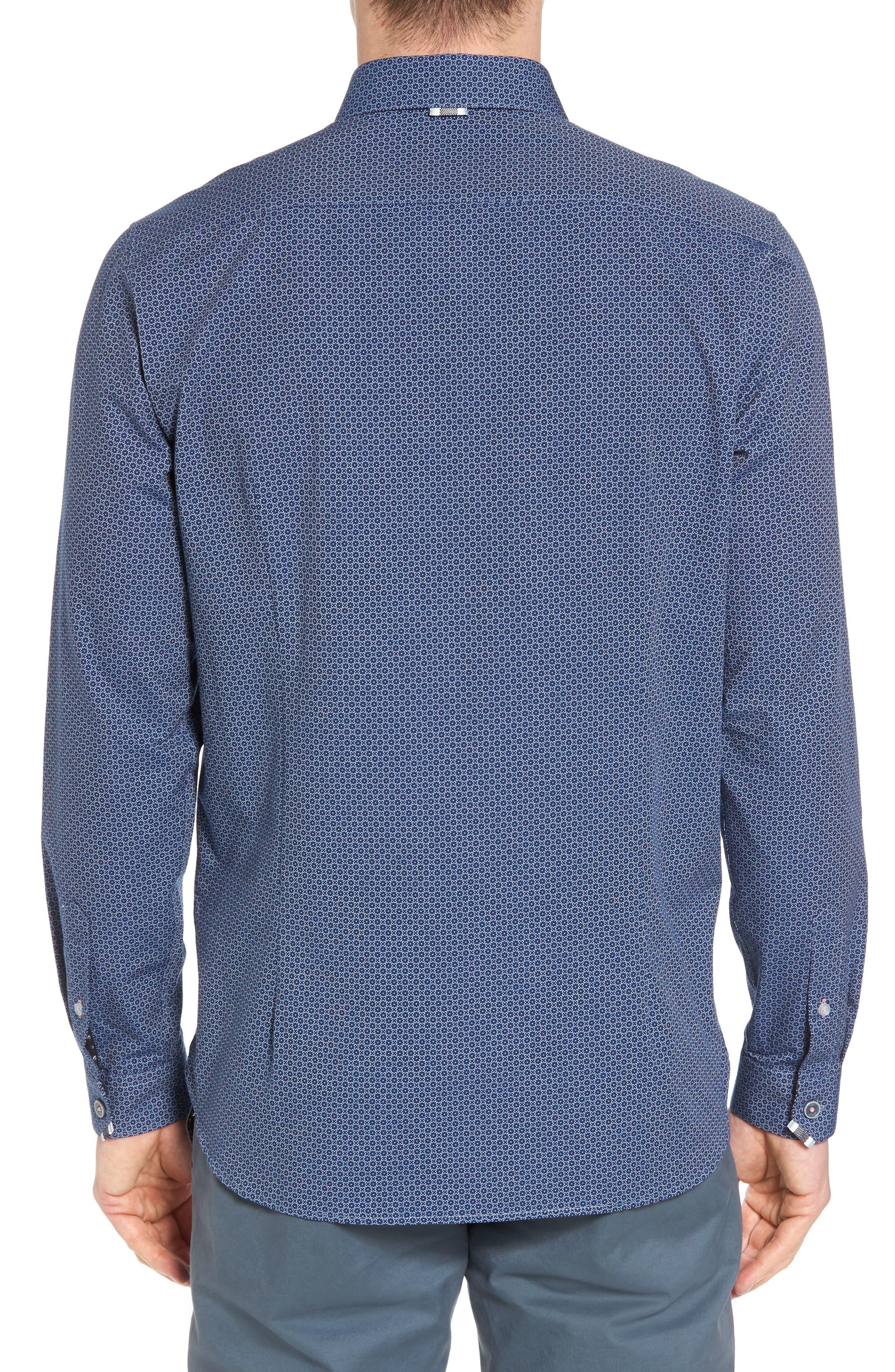 Holic Trim Fit Geometric Sport Shirt,                             Alternate thumbnail 3, color,                             Blue