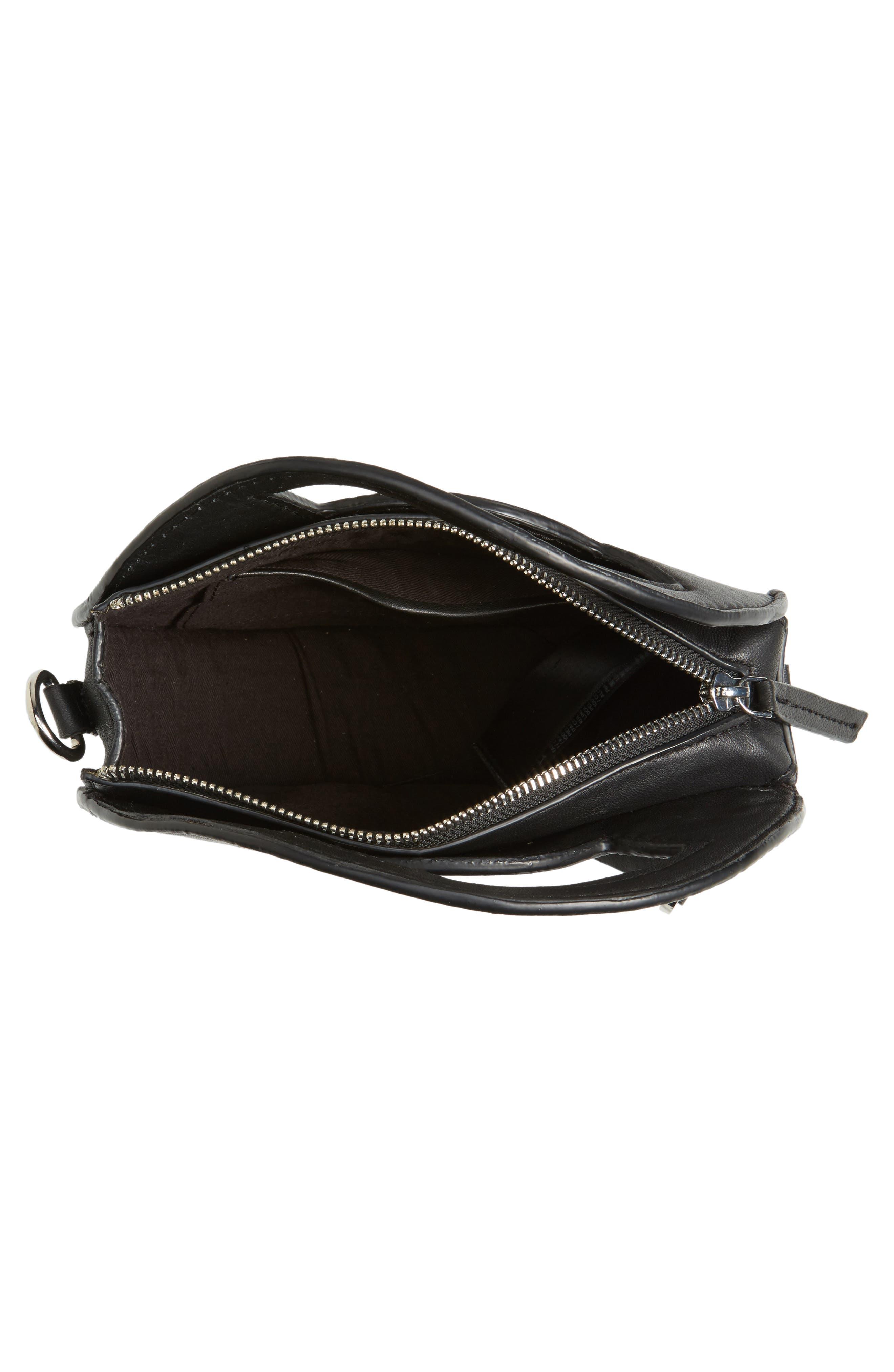 Premium Leather Mini Circle Crossbody Bag,                             Alternate thumbnail 5, color,                             Black