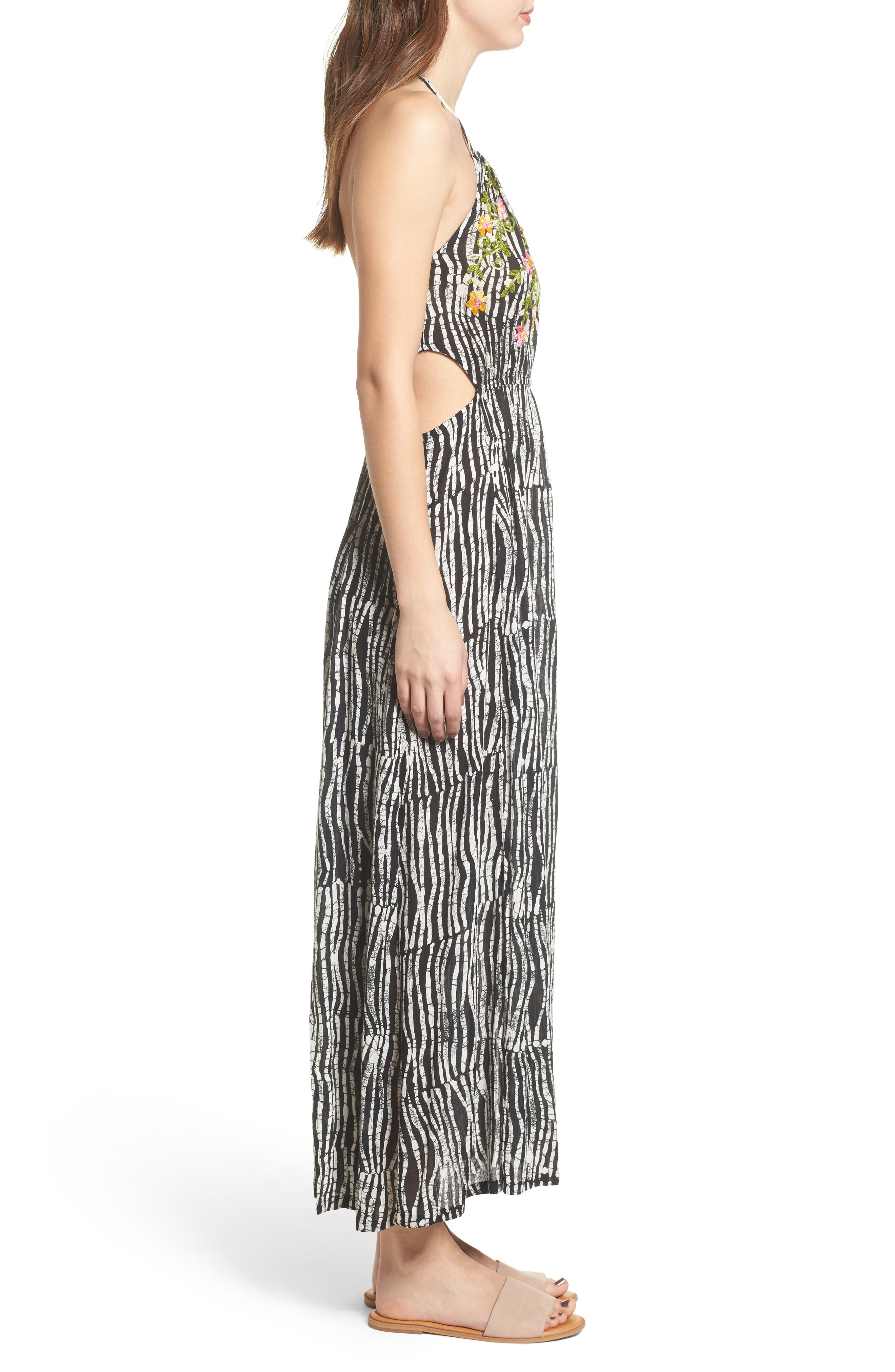Before Dawn Embroidered Maxi Dress,                             Alternate thumbnail 4, color,                             Black/ White
