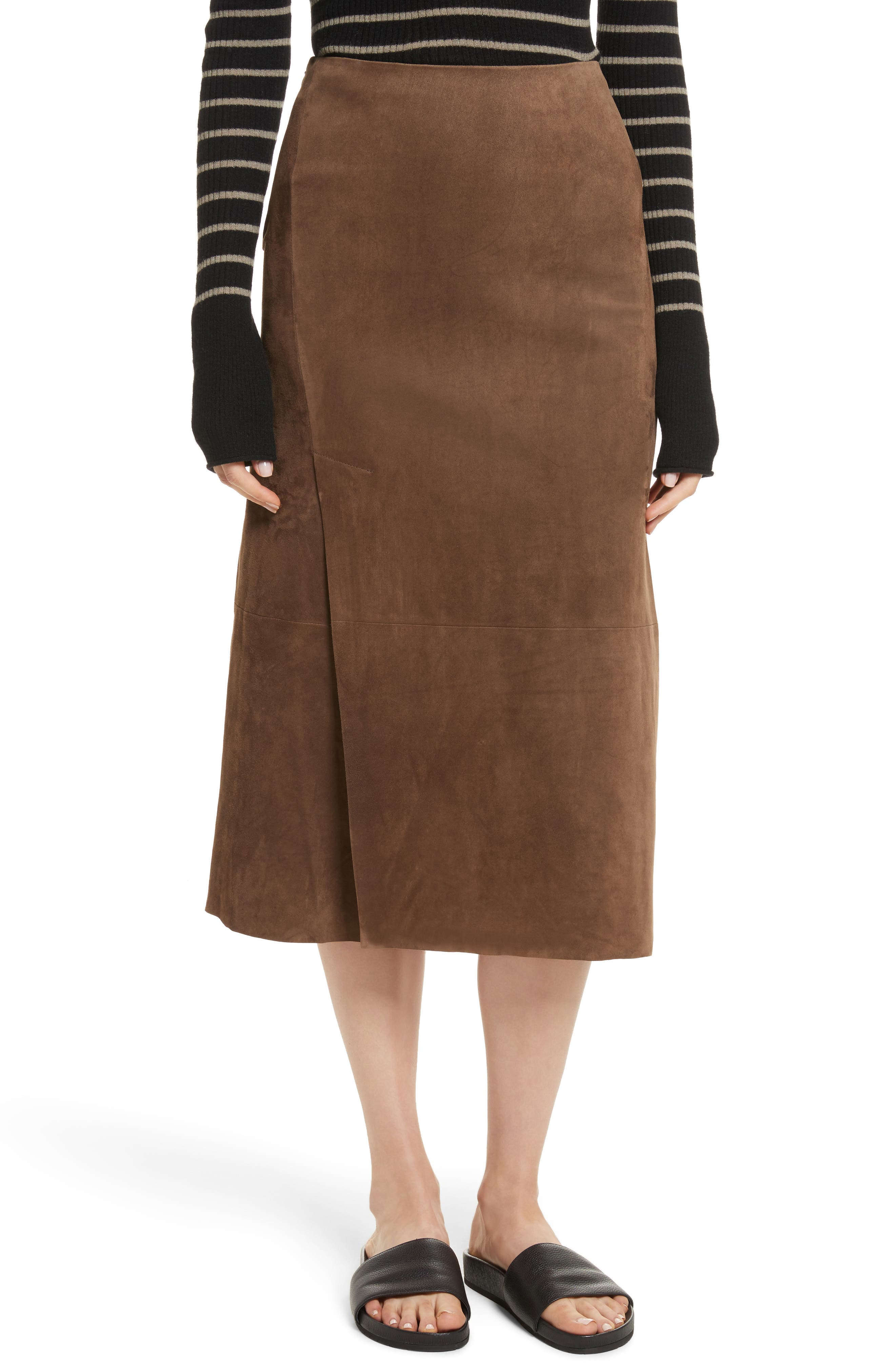 Suede Slit Skirt,                             Main thumbnail 1, color,                             Dark Taupe