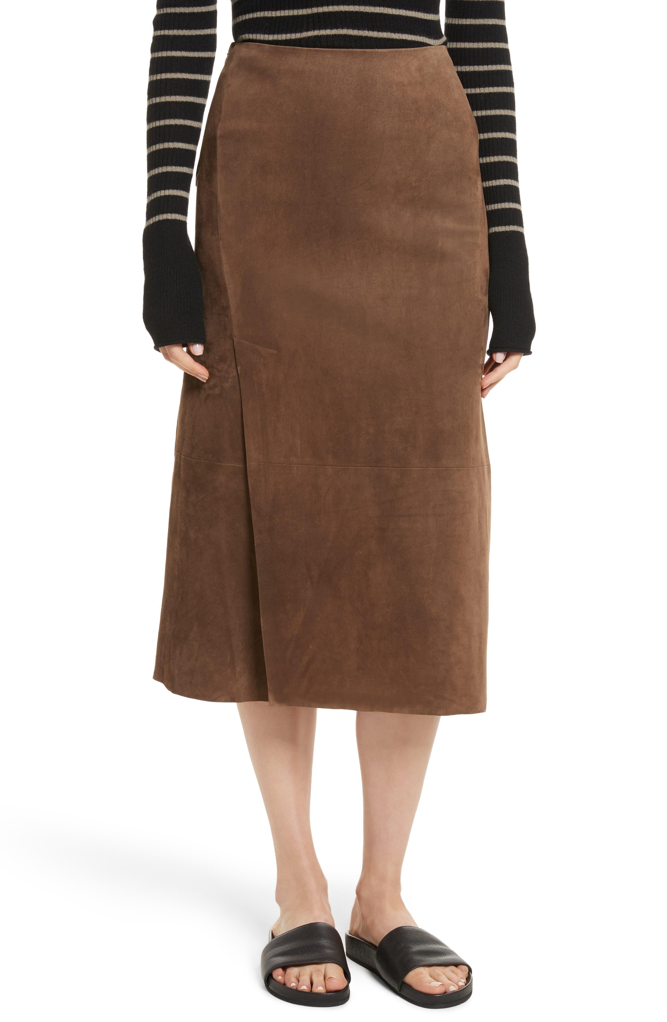 Suede Slit Skirt,                         Main,                         color, Dark Taupe