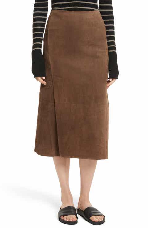 Vince Suede Slit Skirt