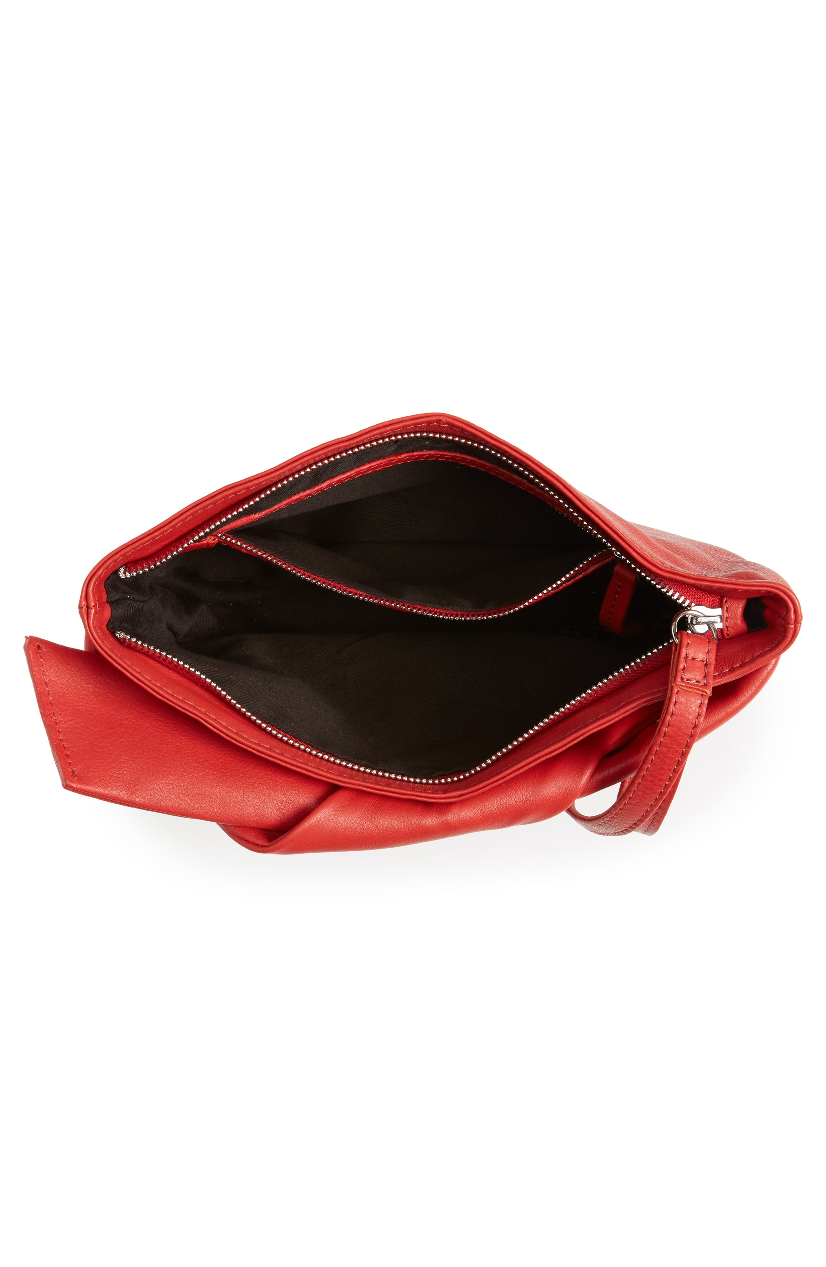 Jasmine Leather Clutch,                             Alternate thumbnail 5, color,                             Red