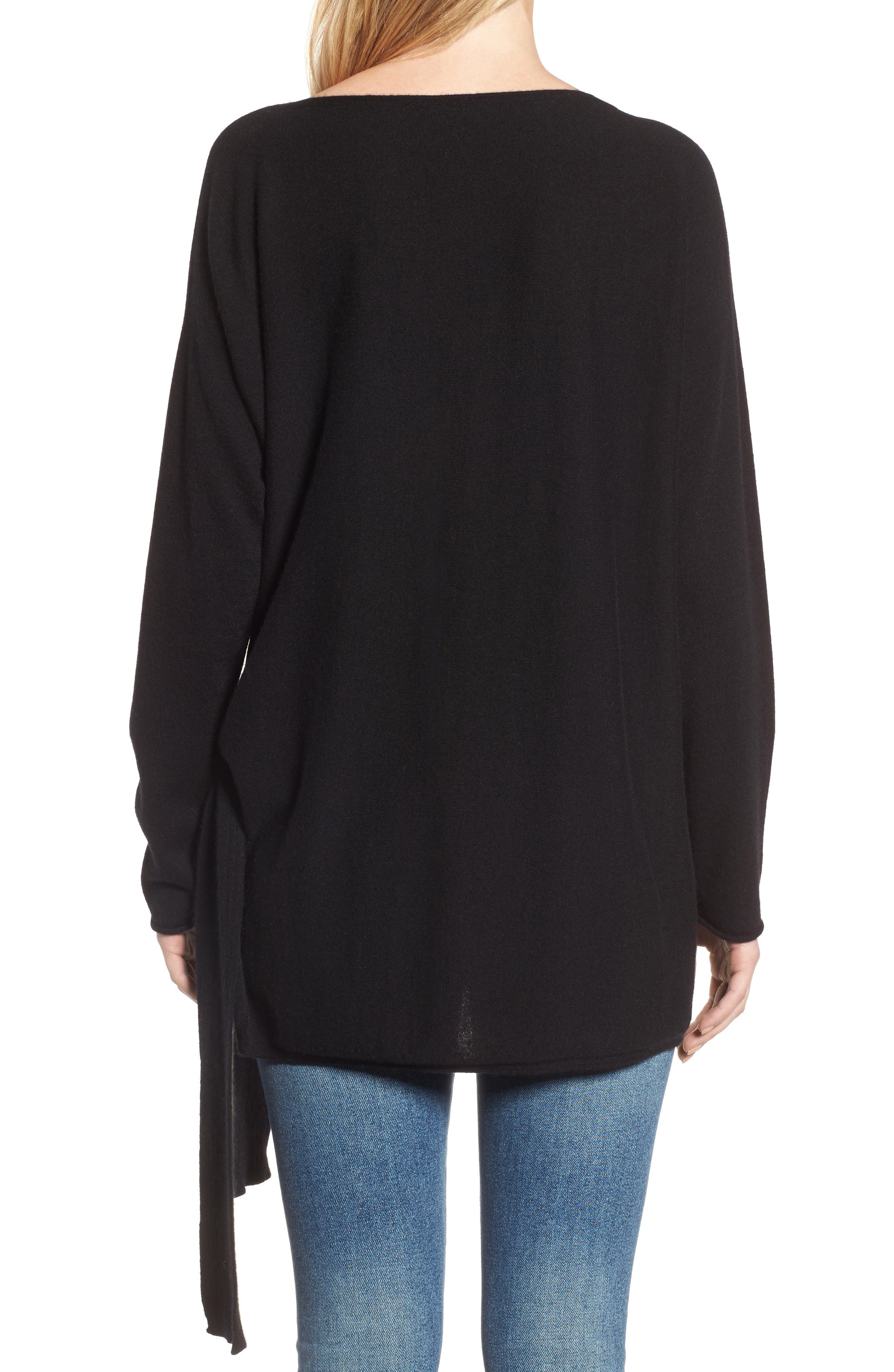 Cashmere Tunic Sweater,                             Alternate thumbnail 2, color,                             Black