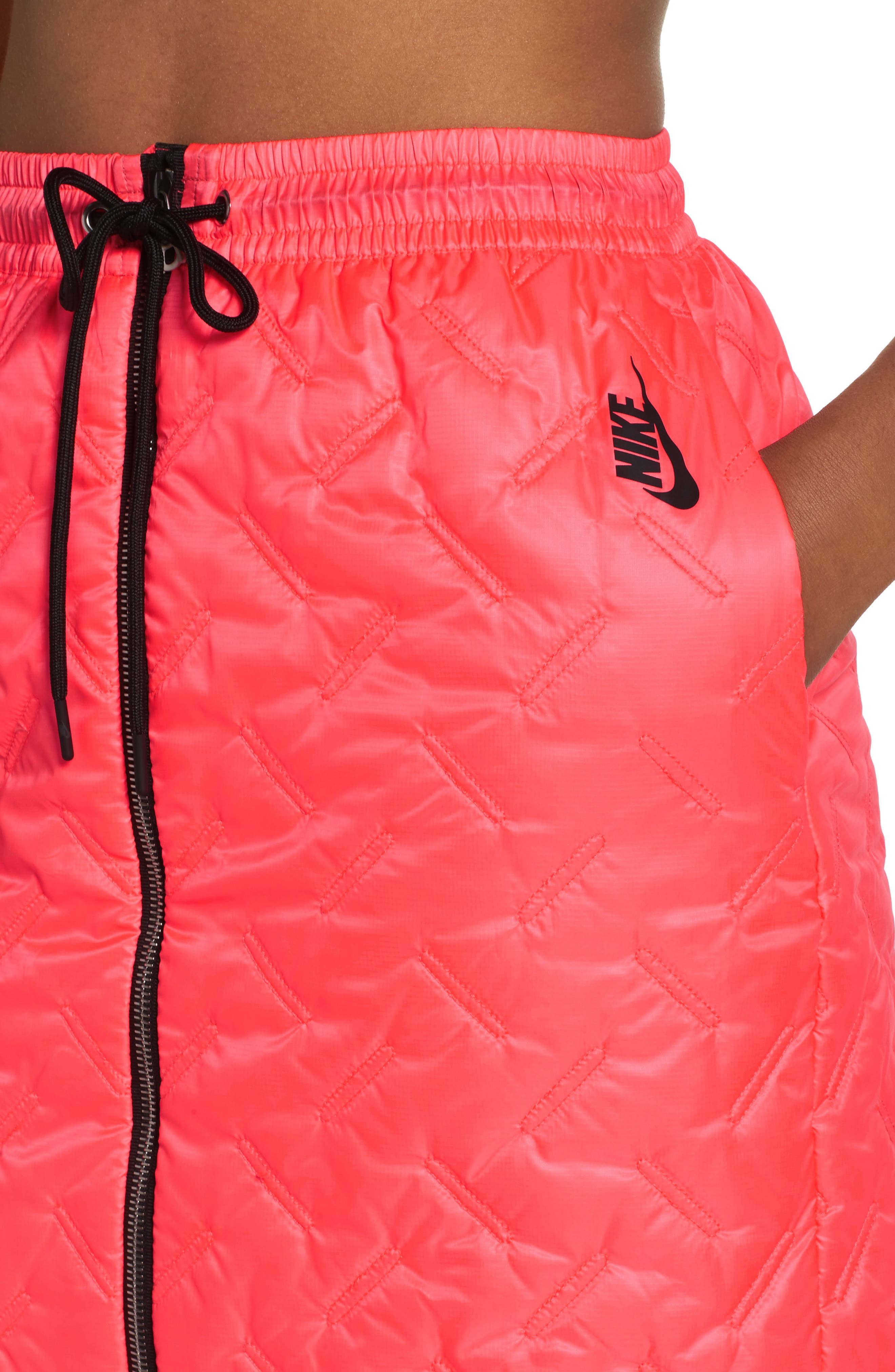NikeLab Essentials Insulated Skirt,                             Alternate thumbnail 6, color,                             Hot Punch/ Black