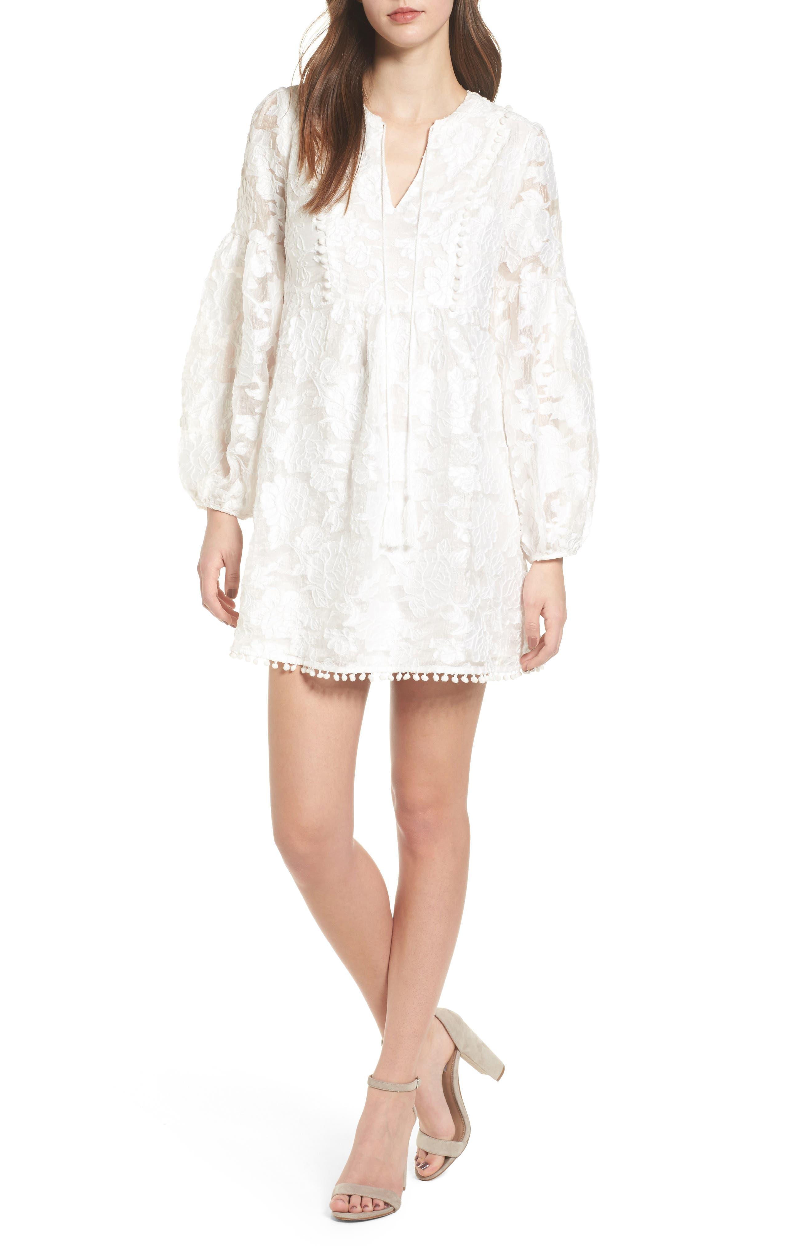 Floral Burnout Dress,                             Main thumbnail 1, color,                             White