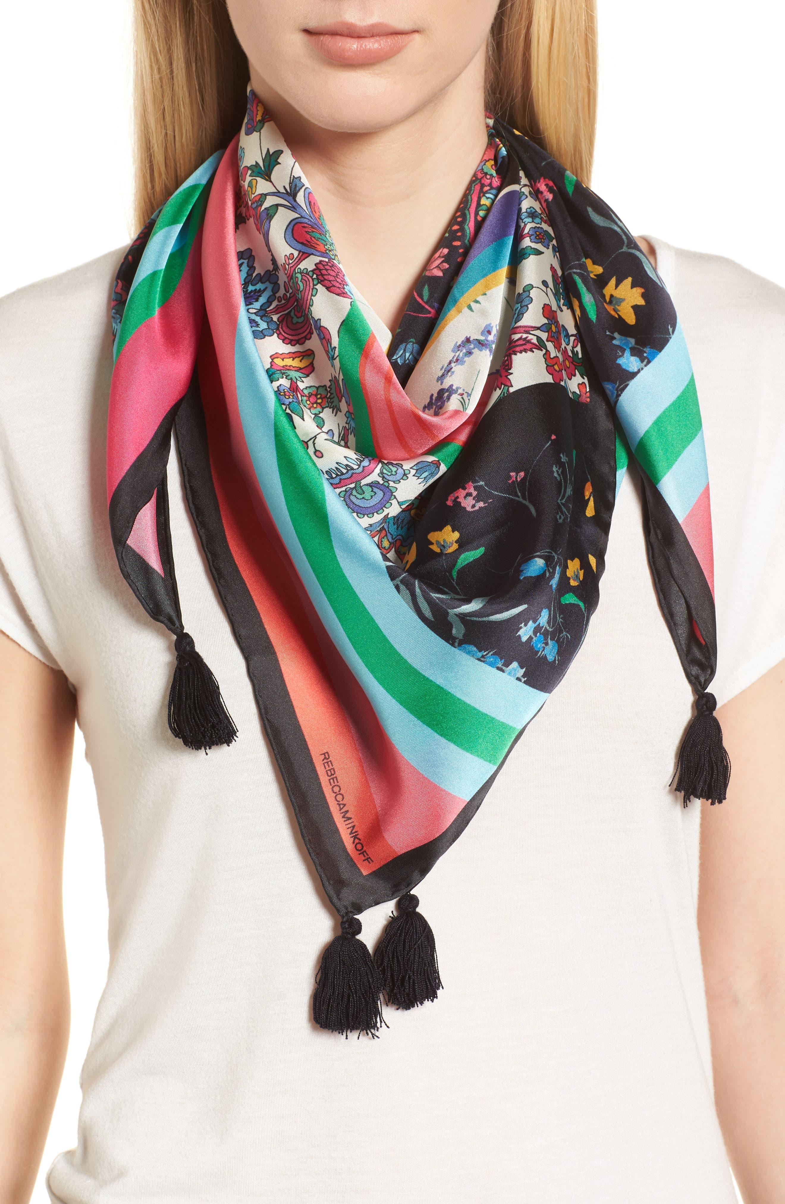 Eccentric Stripe Square Silk Scarf,                             Main thumbnail 1, color,                             Black