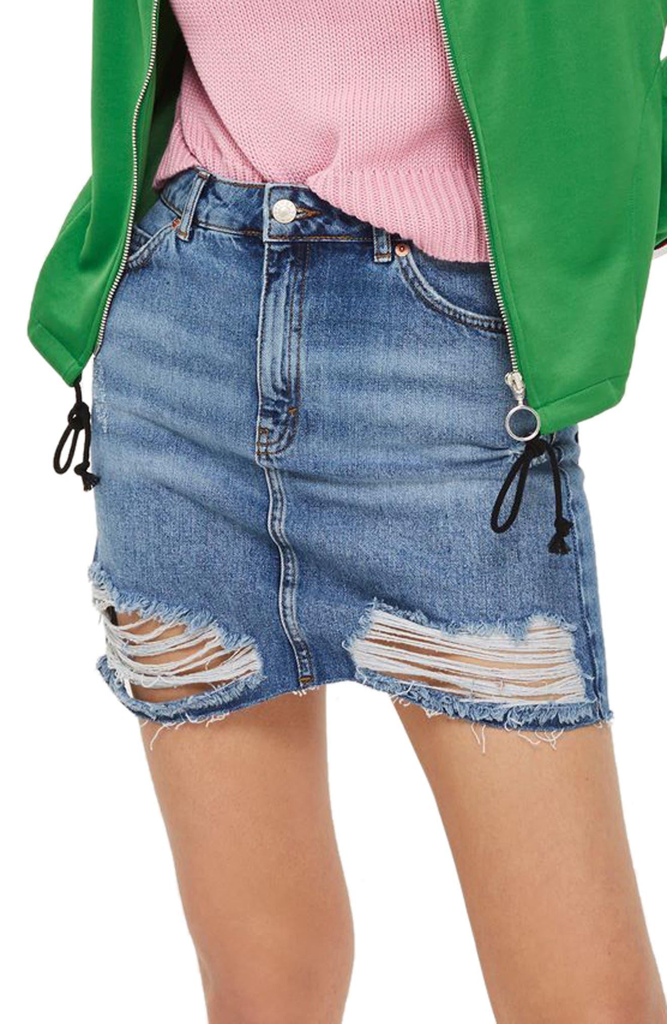 Ripped Denim Miniskirt,                         Main,                         color, Mid Denim
