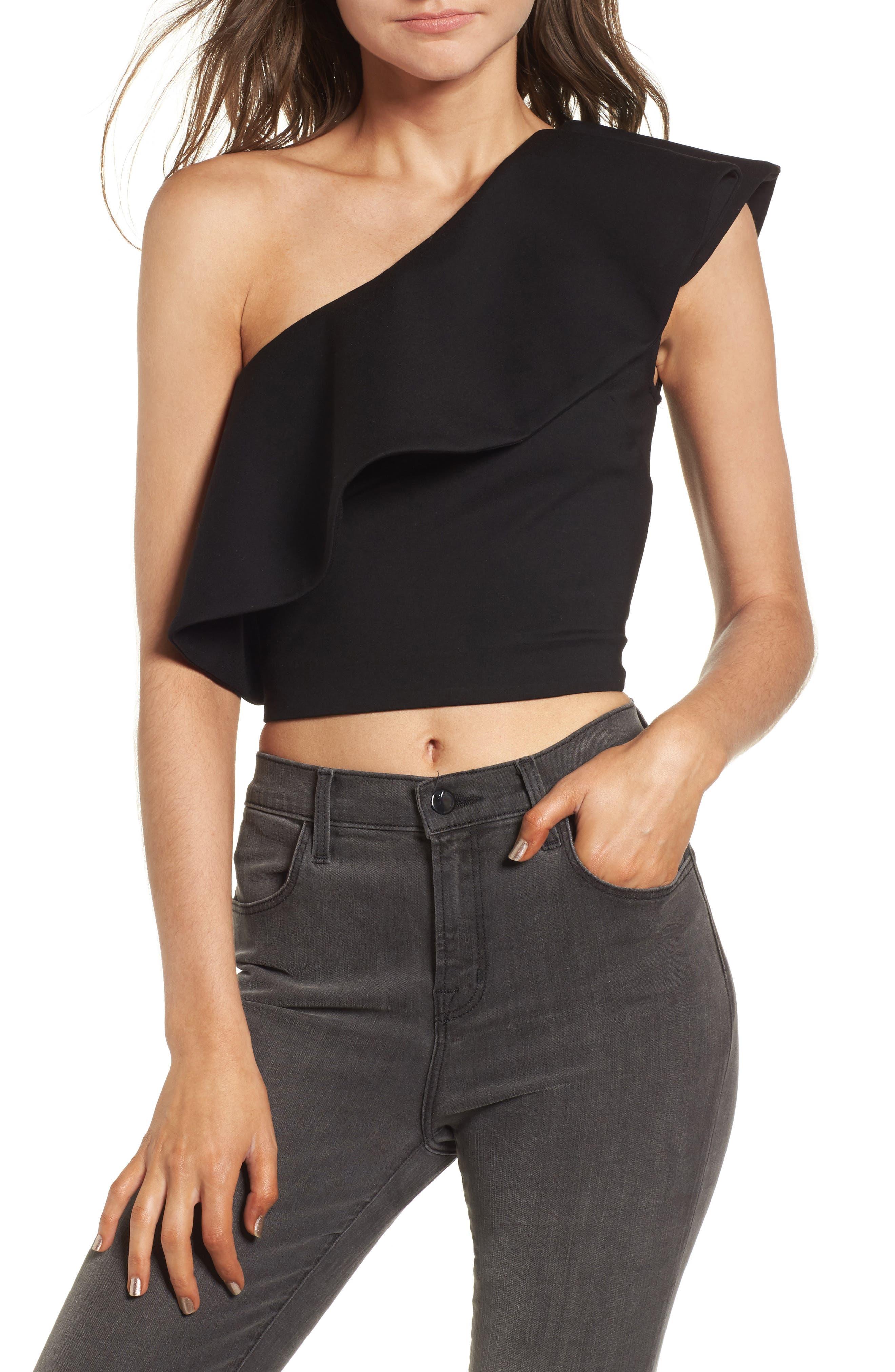 Revel One-Shoulder Top,                         Main,                         color, Black