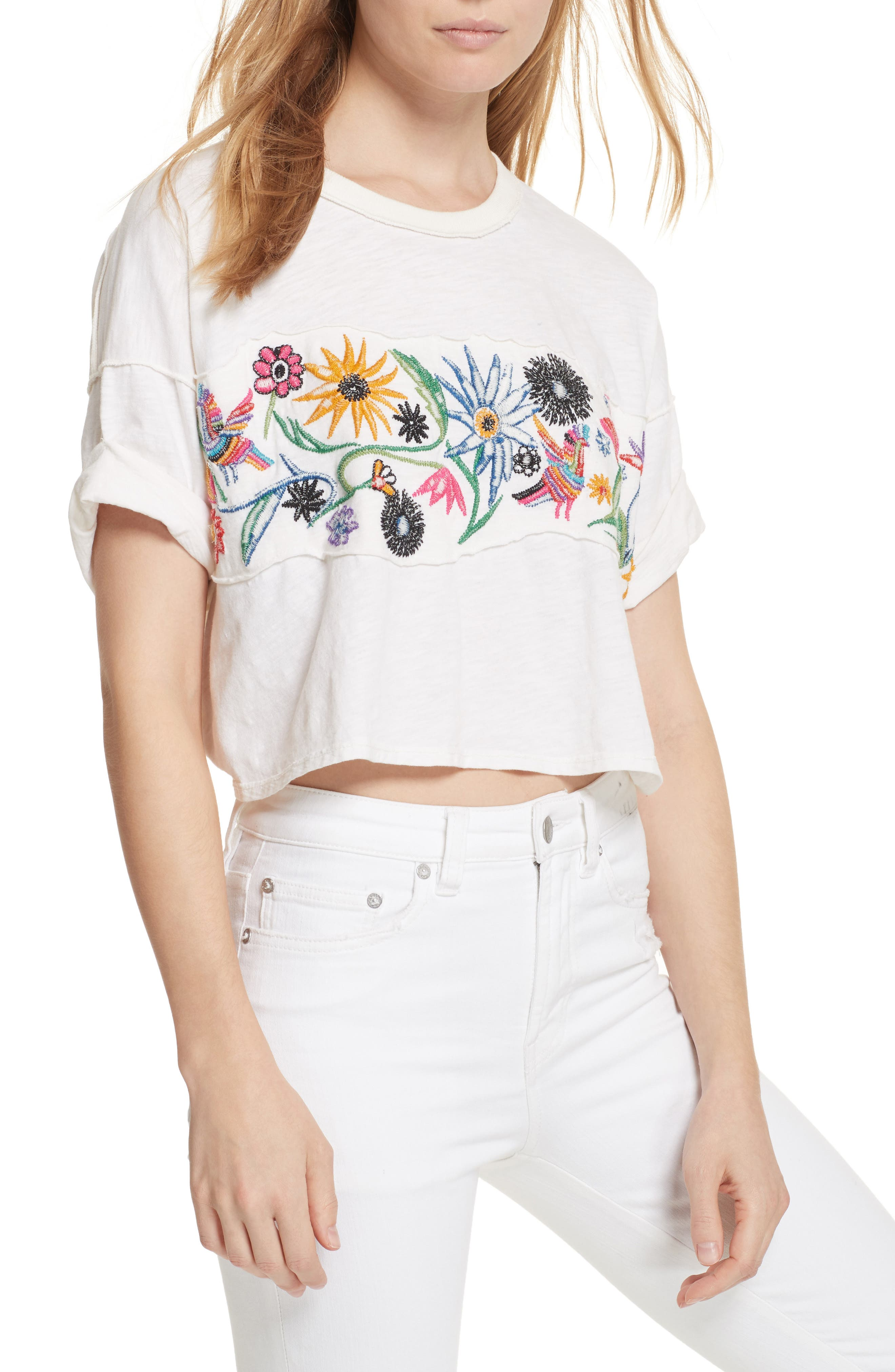 Main Image - Free People Garden Time Embroidered Tee