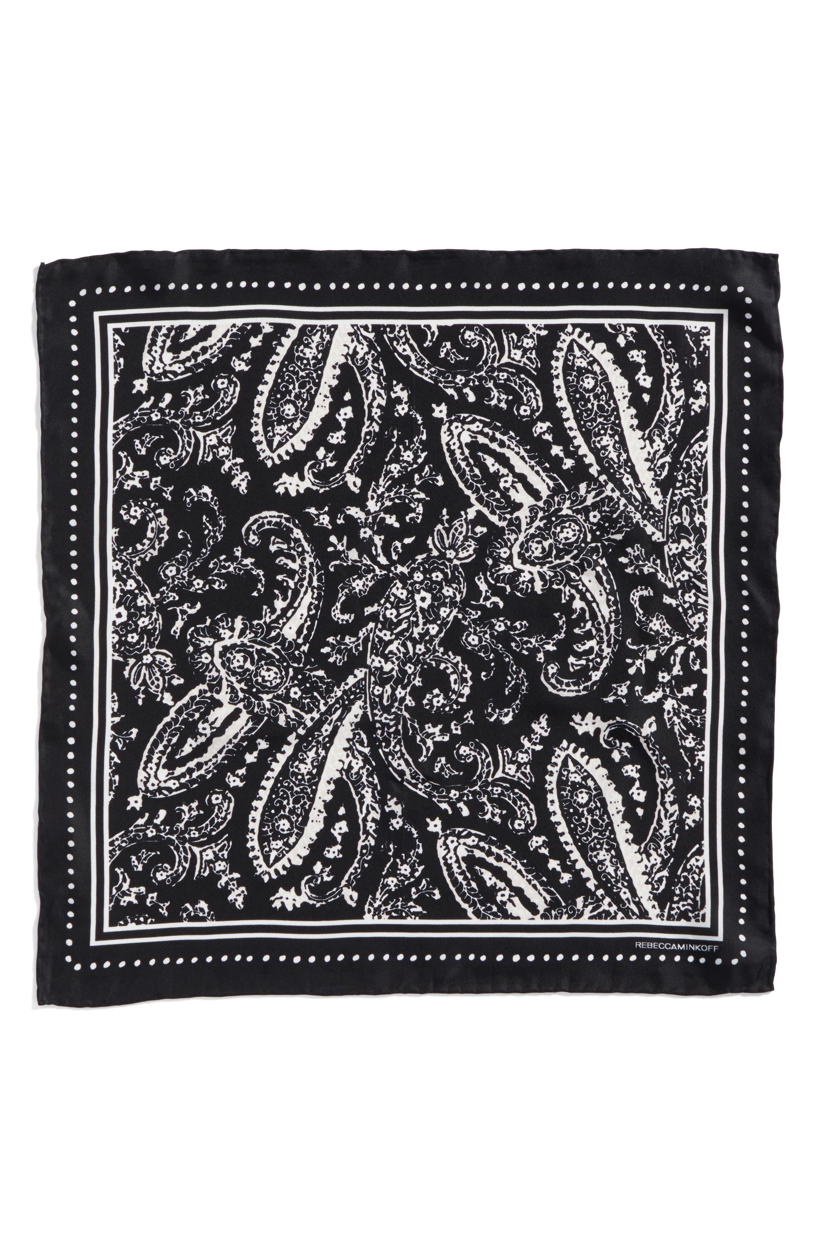 Ornament Paisley Silk Bandana,                             Alternate thumbnail 3, color,                             Black