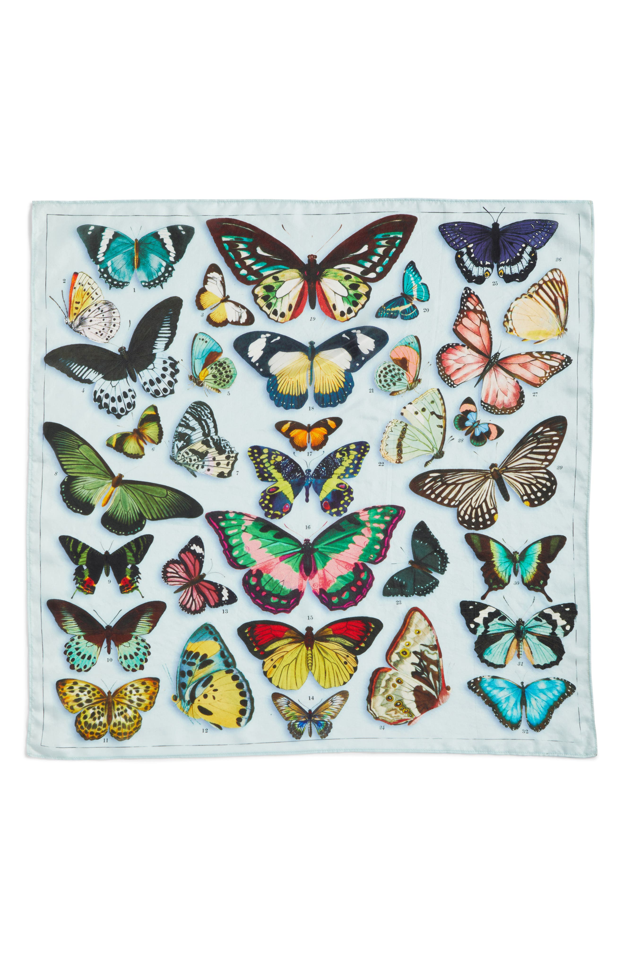 Print Silk Scarf,                             Alternate thumbnail 4, color,                             Blue Butterfly Beauty Print