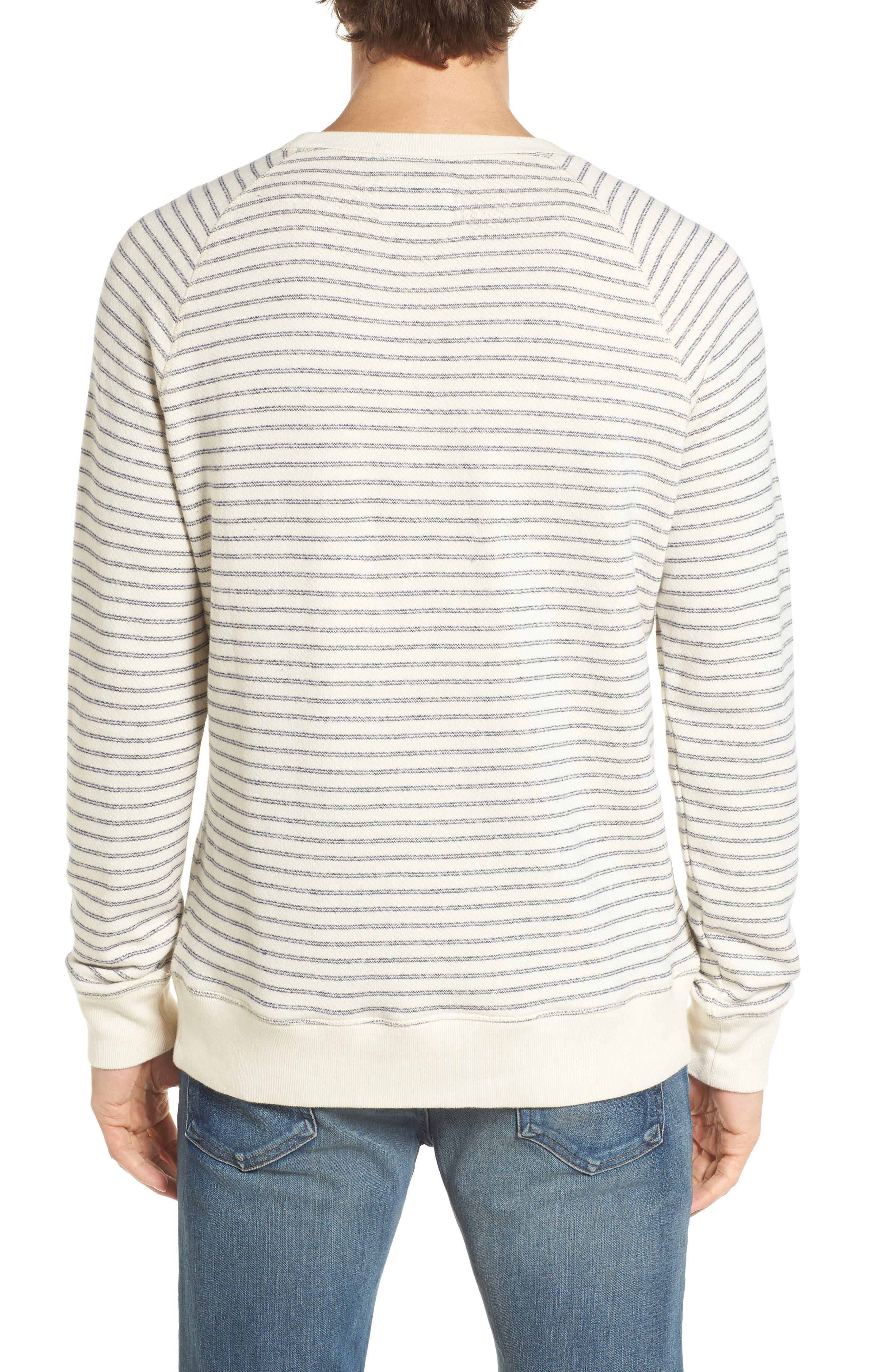 Dalton Stripe Terry Sweatshirt,                             Alternate thumbnail 2, color,                             White/ Navy Stripe