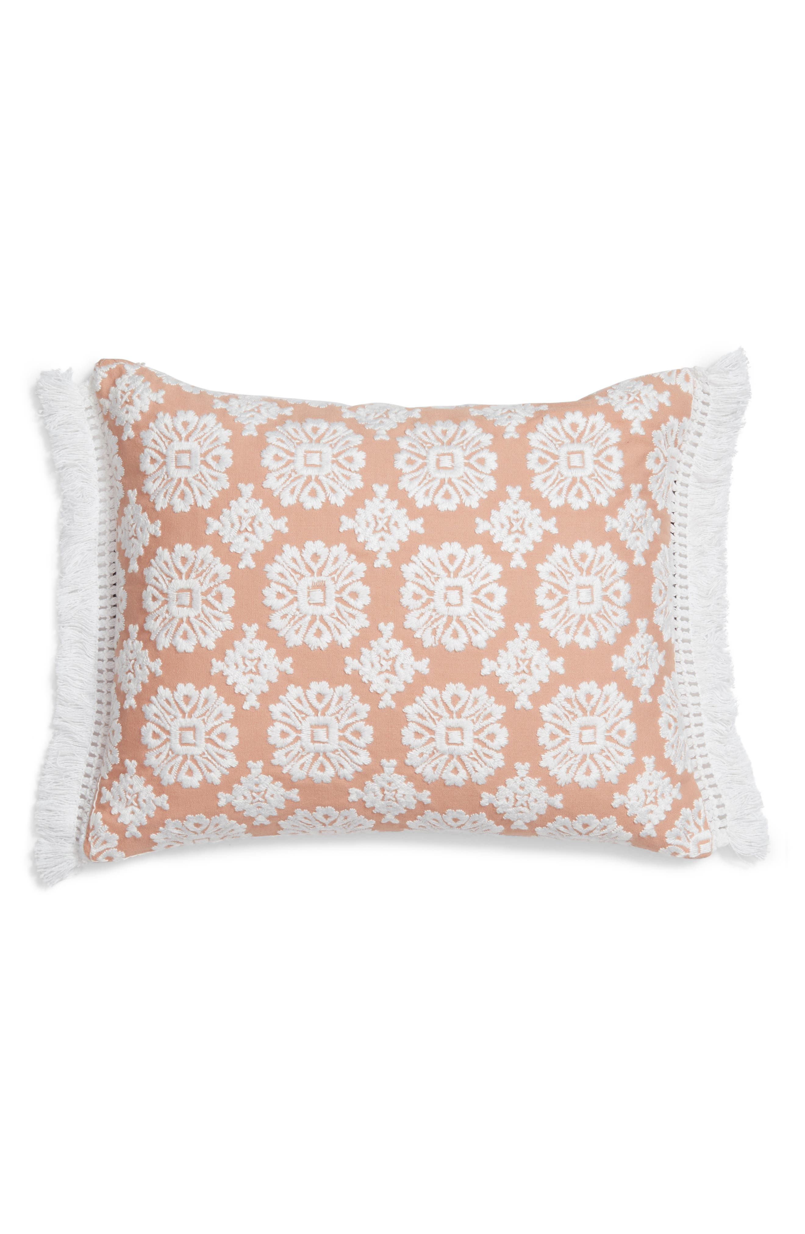 Bree Embroidered Accent Pillow,                             Main thumbnail 1, color,                             Blush