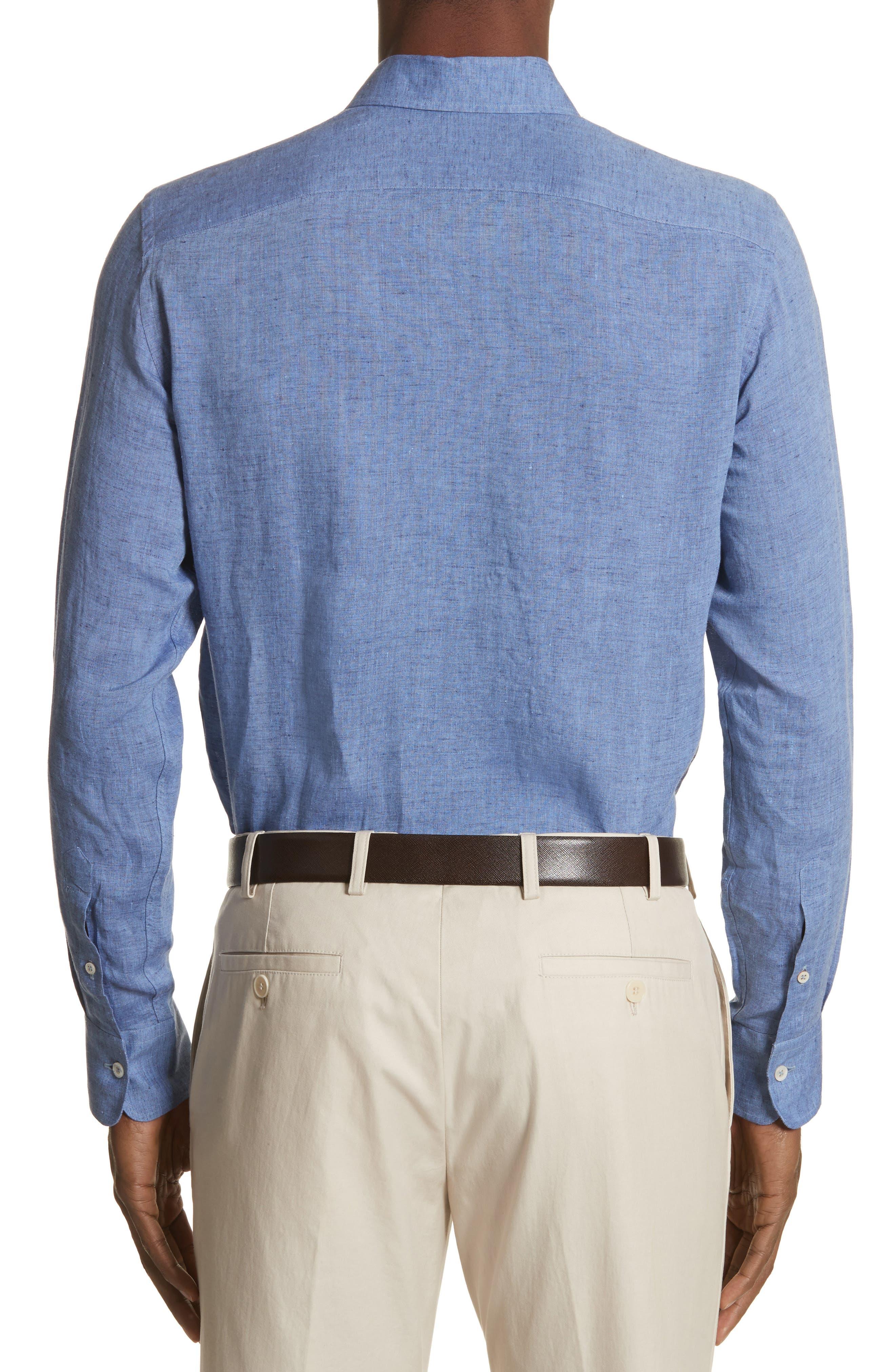 Slim Fit Linen Sport Shirt,                             Alternate thumbnail 2, color,                             Med Blue