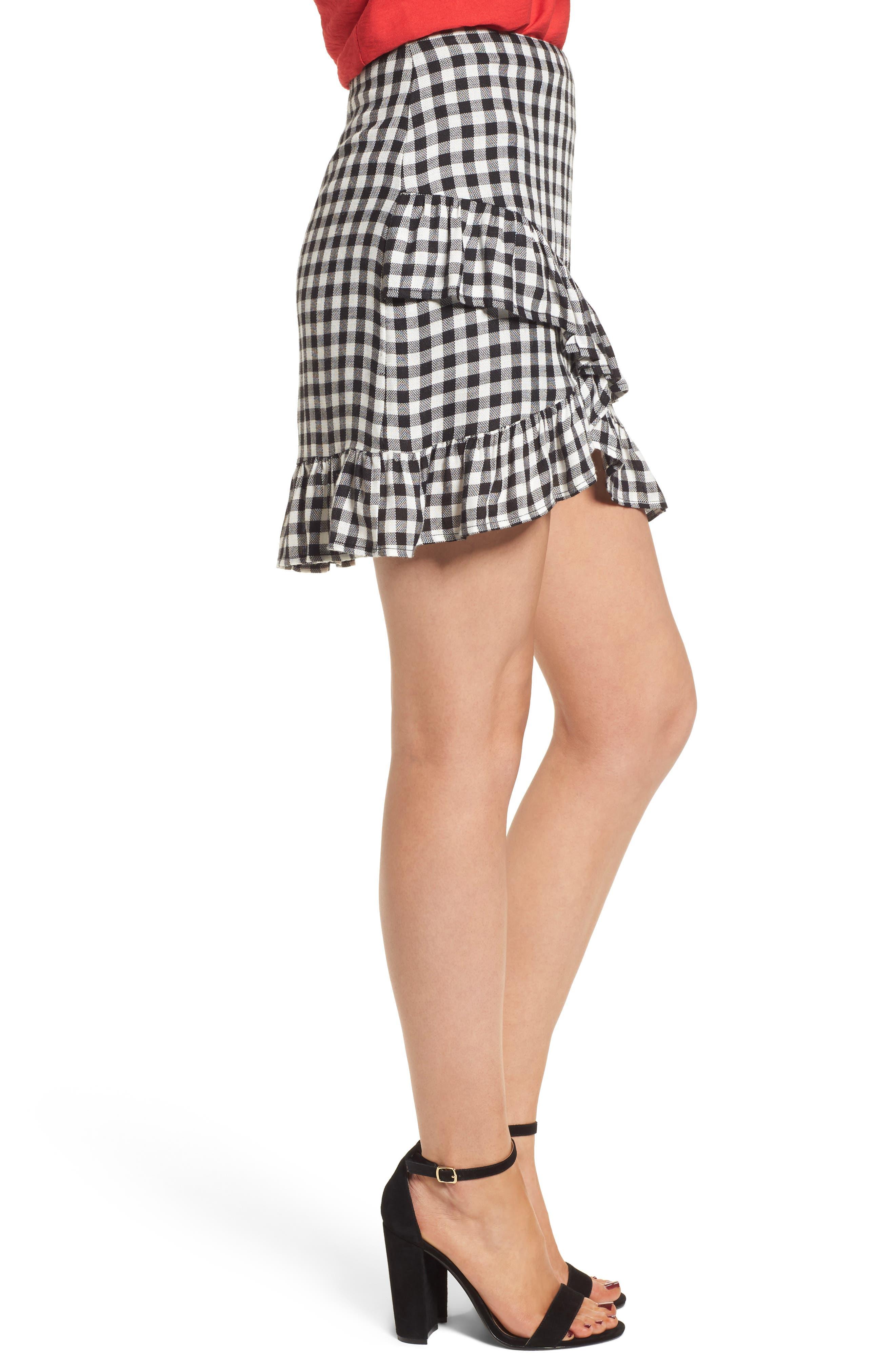 Day Trip Gingham Ruffle Skirt,                             Alternate thumbnail 4, color,                             Black