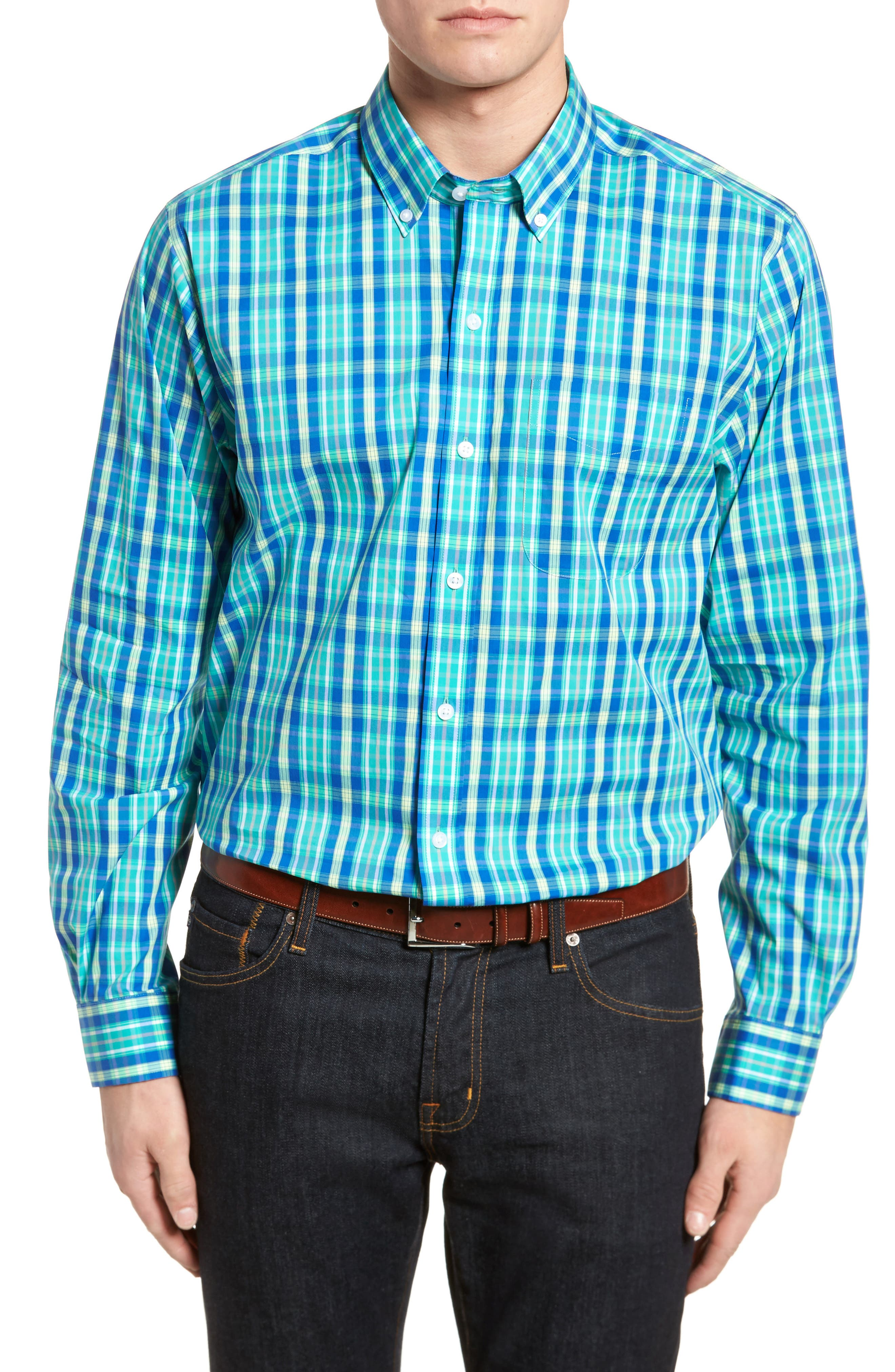 Carter Plaid Performance Sport Shirt,                             Main thumbnail 1, color,                             Dart