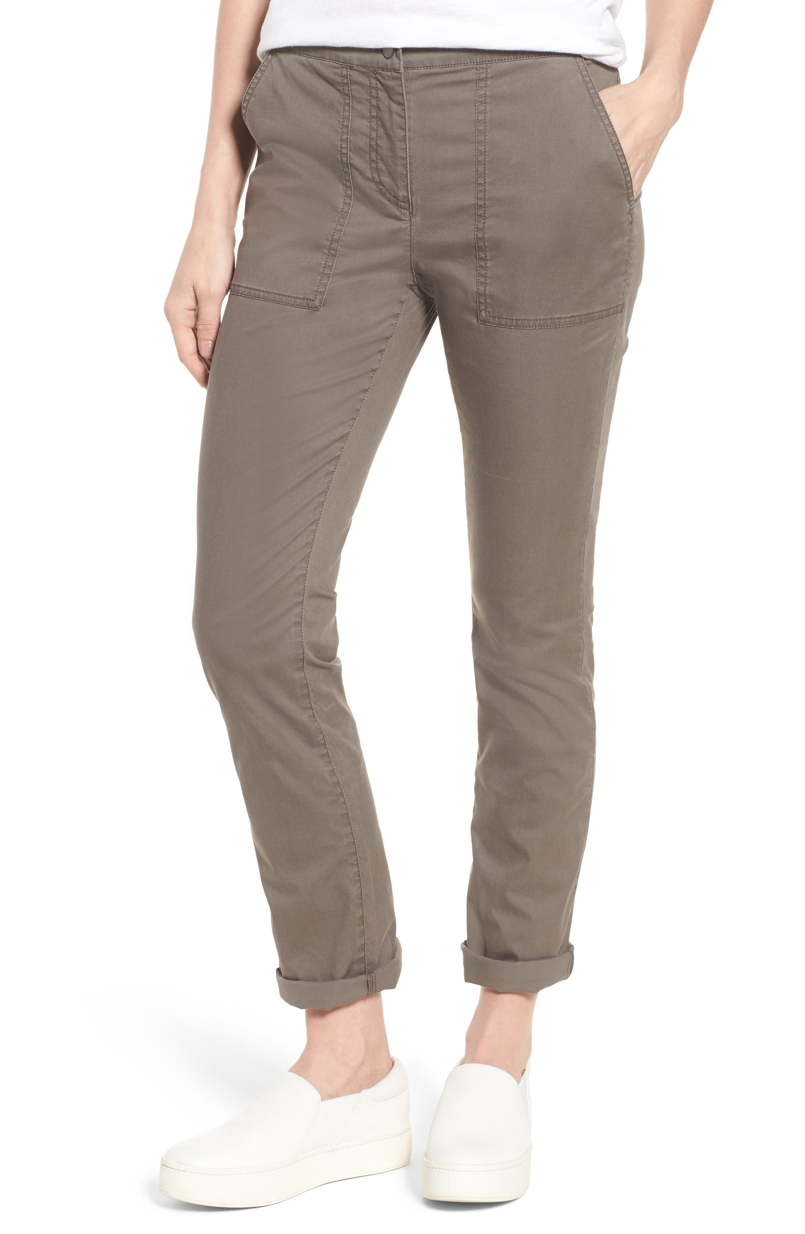 Slim Organic Cotton Blend Pants,                         Main,                         color, Rye