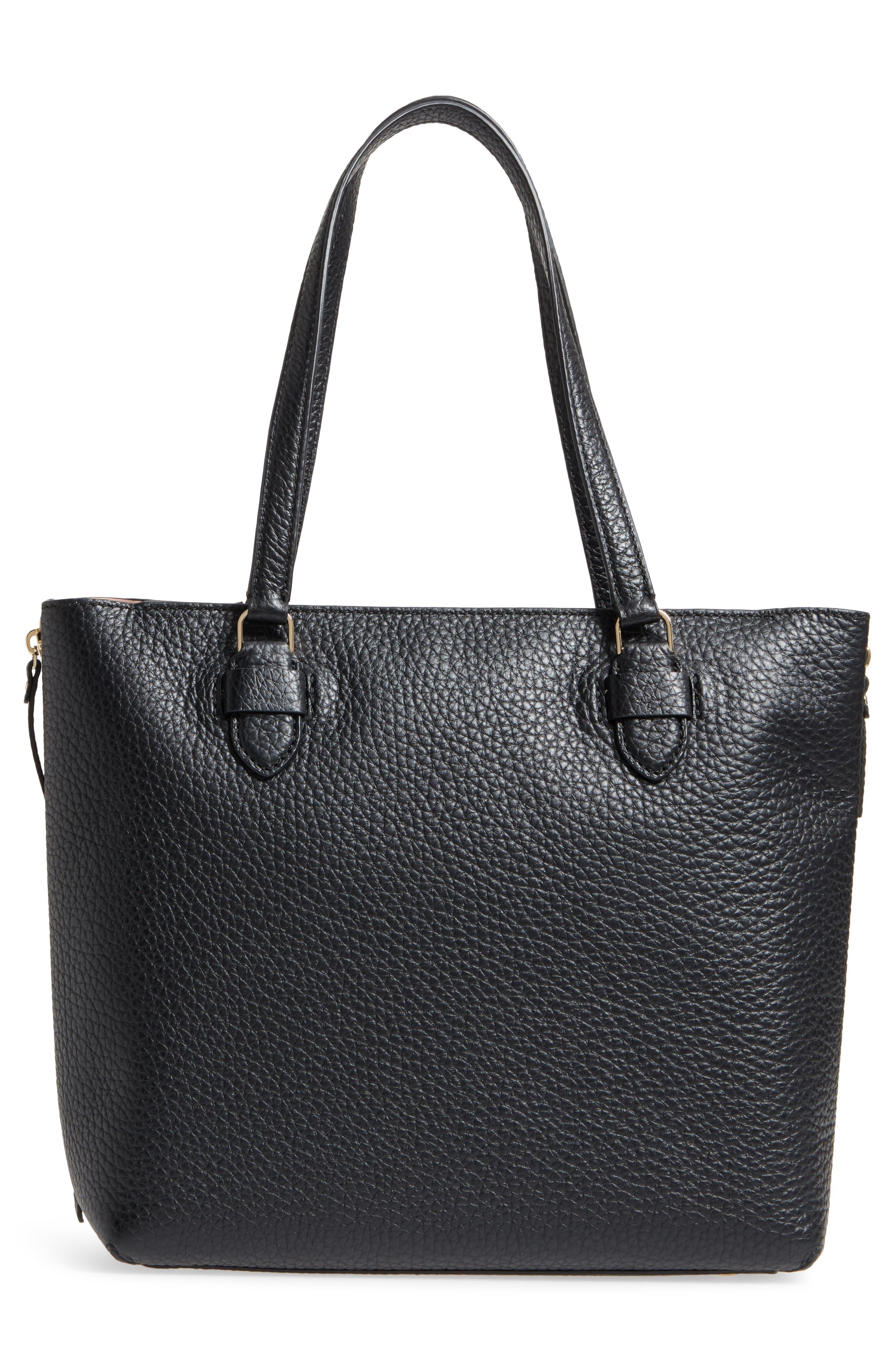 carter street - selena leather tote,                             Alternate thumbnail 3, color,                             Black