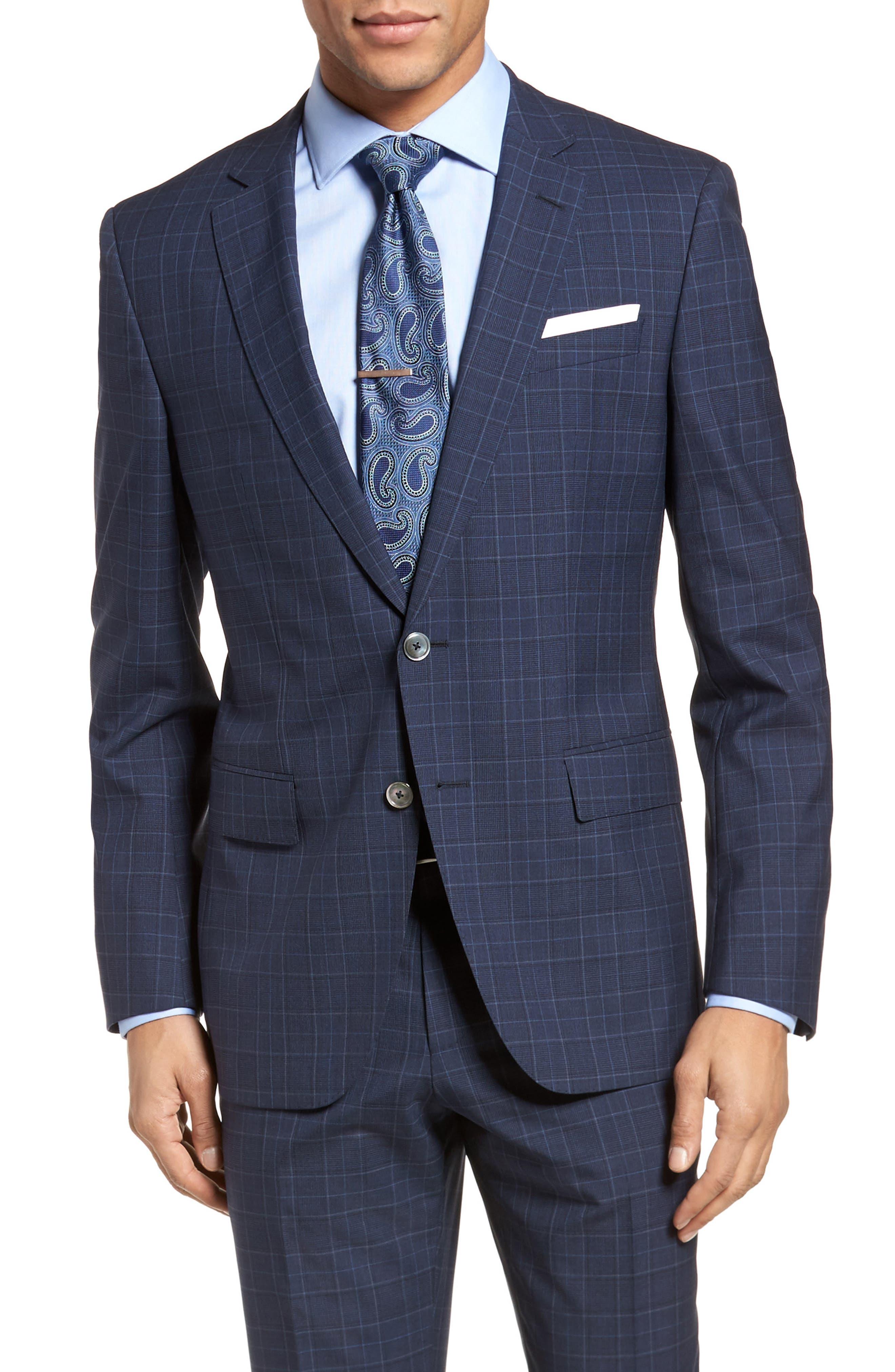 Hutson/Gander Trim Fit Plaid Wool Suit,                             Alternate thumbnail 5, color,                             Navy