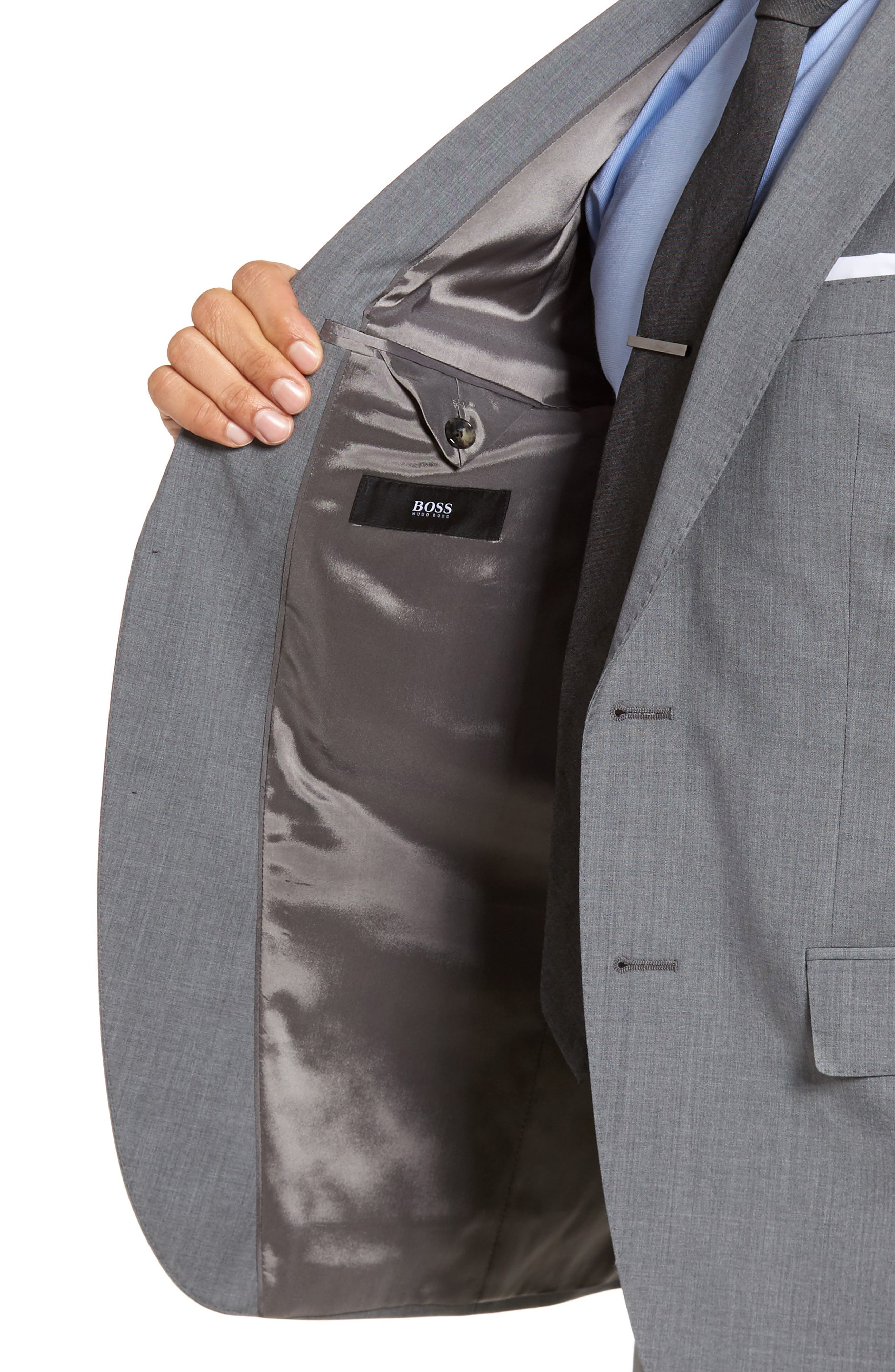 Johnstons/Lenon Classic Fit Solid Wool Suit,                             Alternate thumbnail 4, color,                             Medium Grey