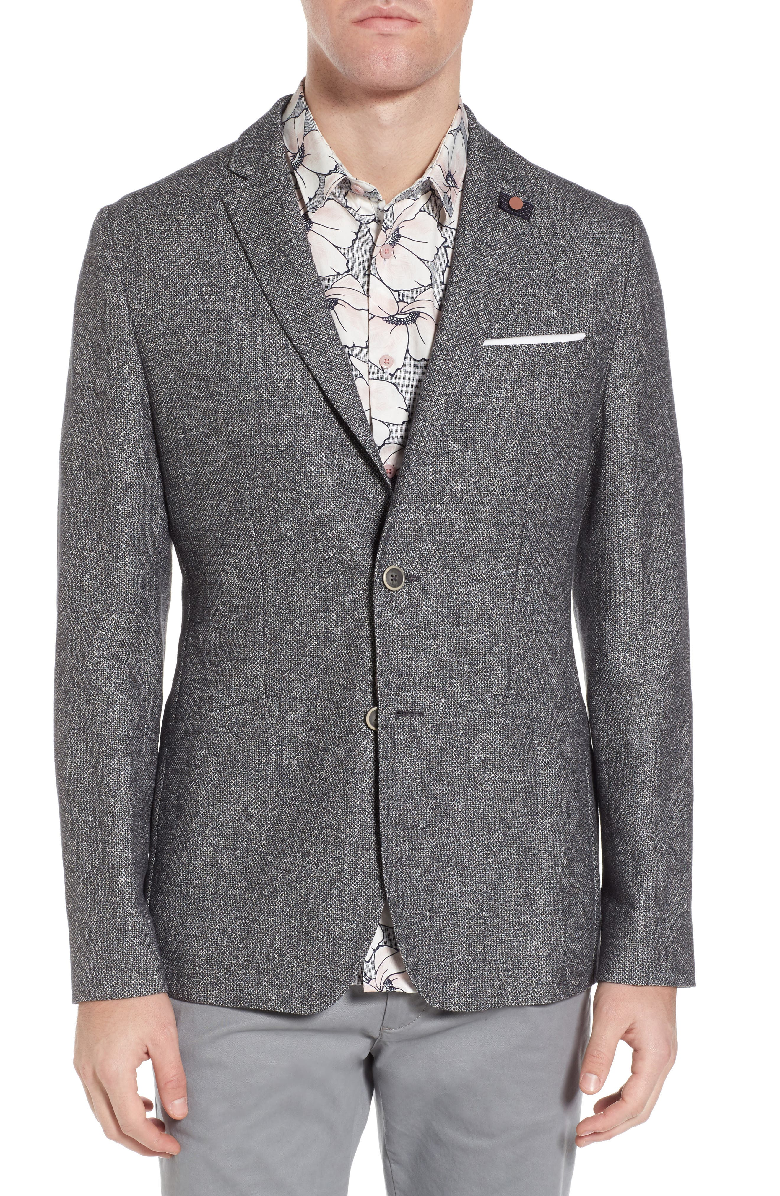 Milar Trim Fit Wool & Linen Sport Coat,                         Main,                         color, Charcoal