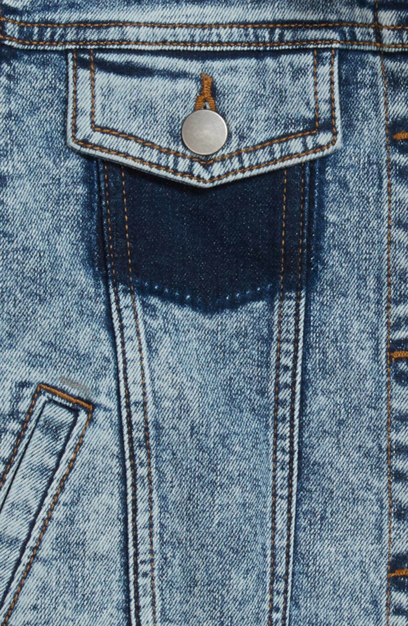 Embroidered Crop Denim Jacket,                             Alternate thumbnail 3, color,                             Stone Cold Wash