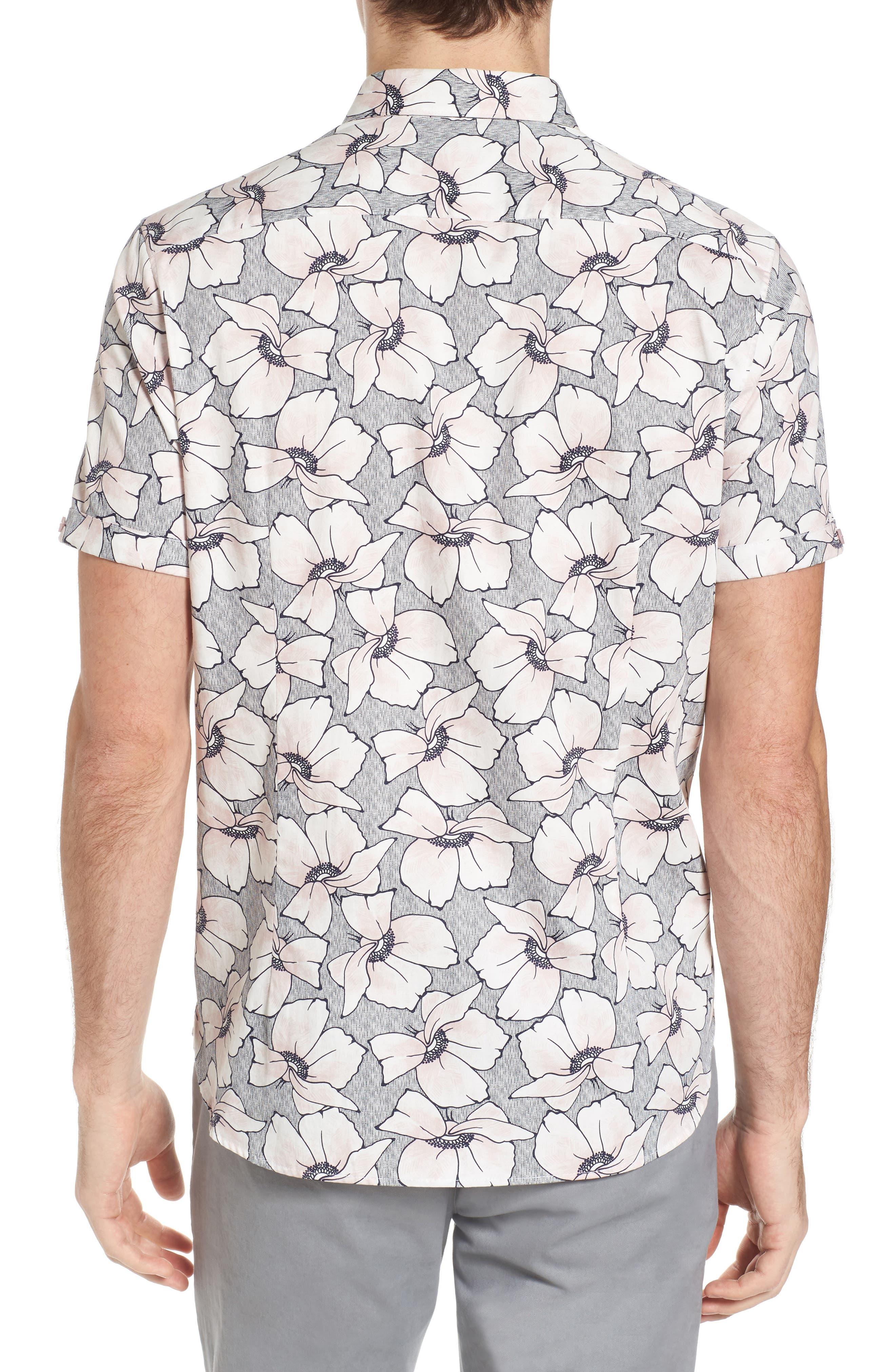 Bigflo Floral Short Sleeve Sport Shirt,                             Alternate thumbnail 3, color,                             Light Pink