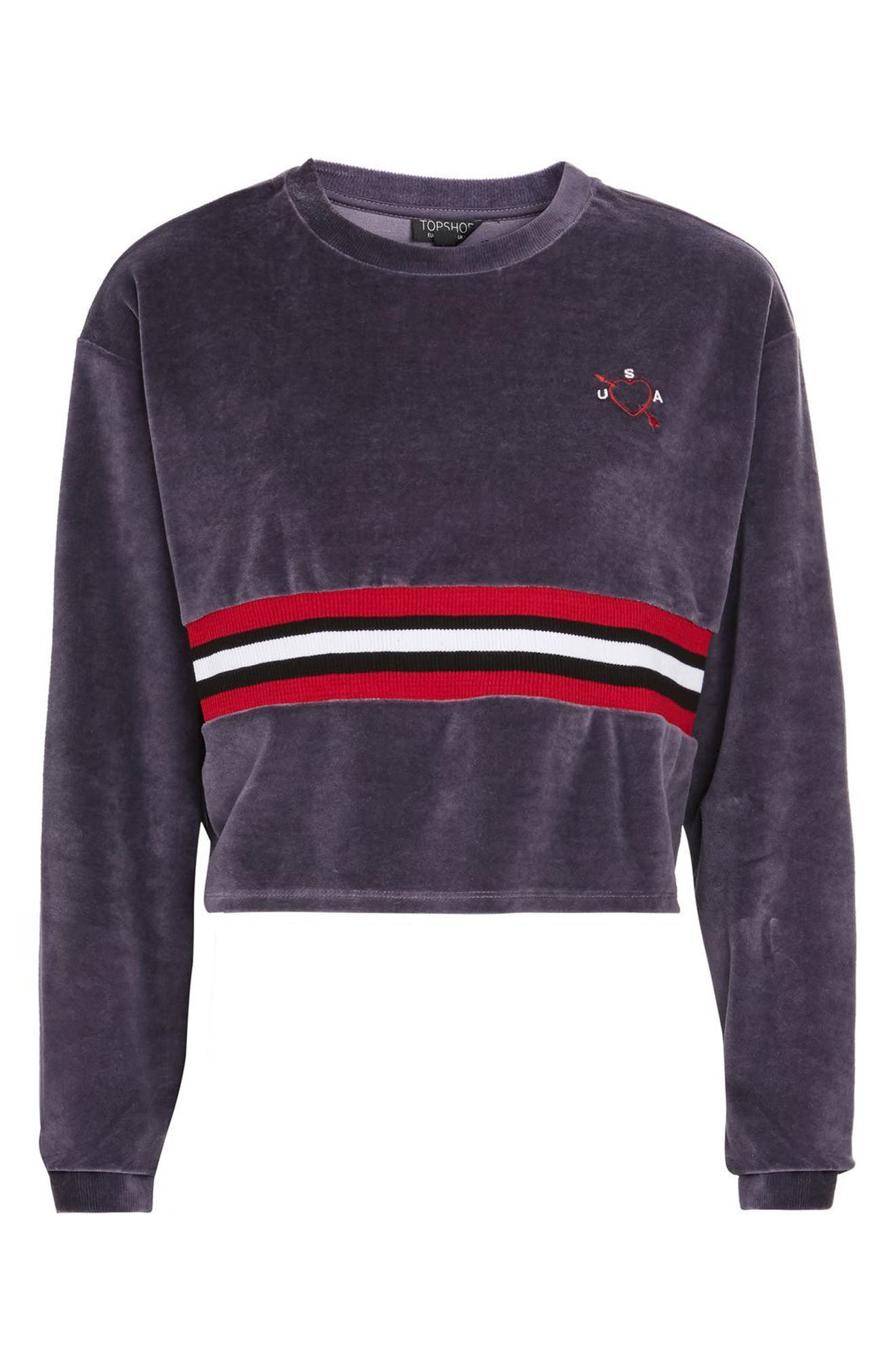 Alternate Image 4  - Topshop Embroidered Velour Crop Sweater
