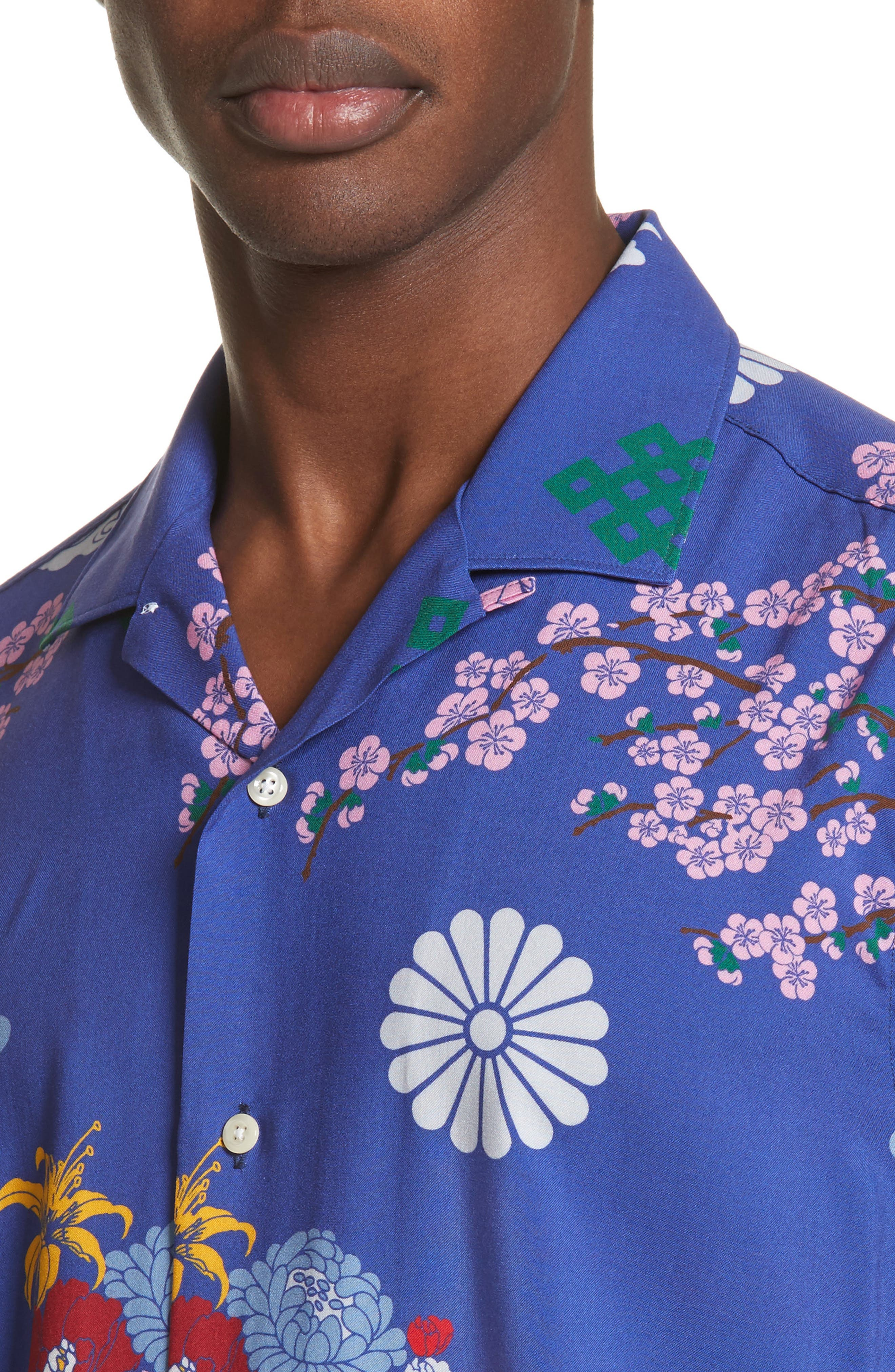 x The North Face Men's Floral Print Camp Shirt,                             Alternate thumbnail 5, color,                             Blue Ground
