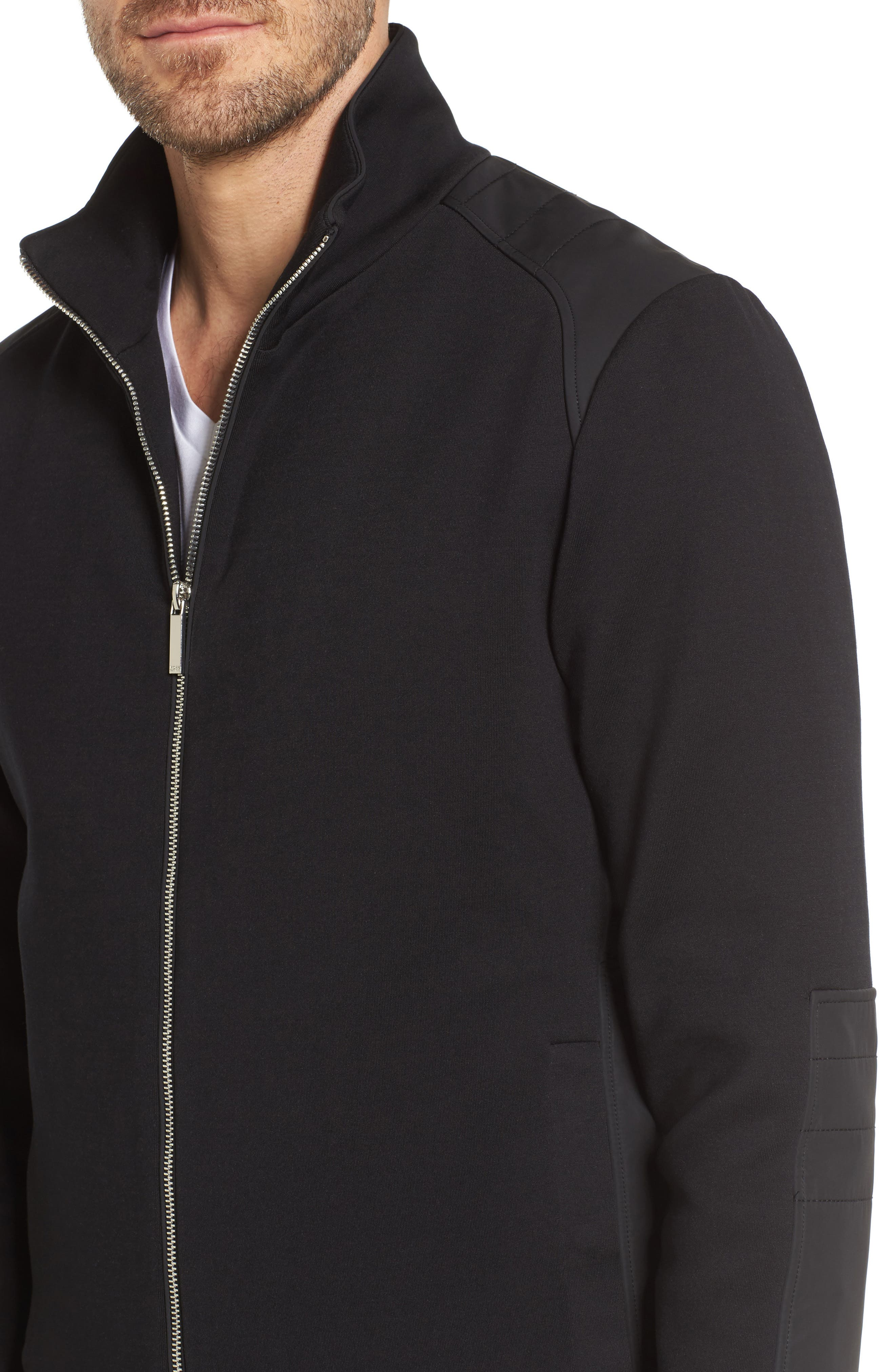 Soule Mercedes Slim Fit Zip Jacket,                             Alternate thumbnail 4, color,                             Black