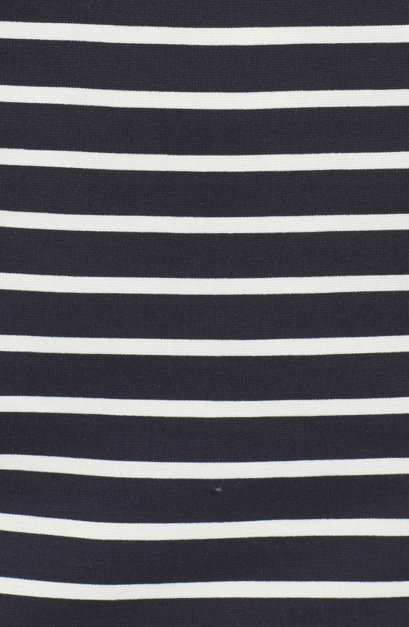 Puff Sleeve Shift Dress,                             Alternate thumbnail 5, color,                             Navy/ Ivory