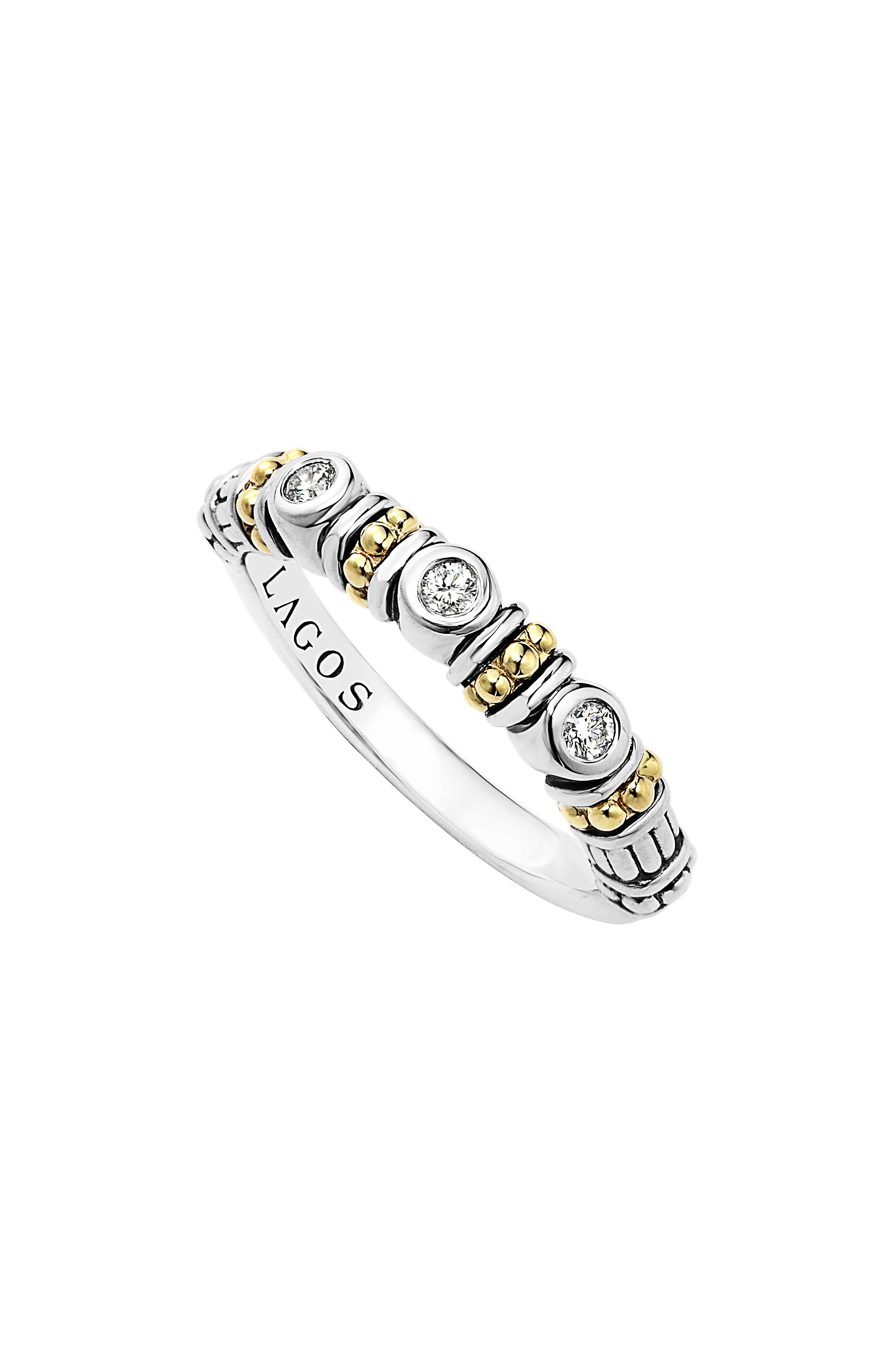 Three Diamond Stacking Ring,                         Main,                         color, Silver/ Gold