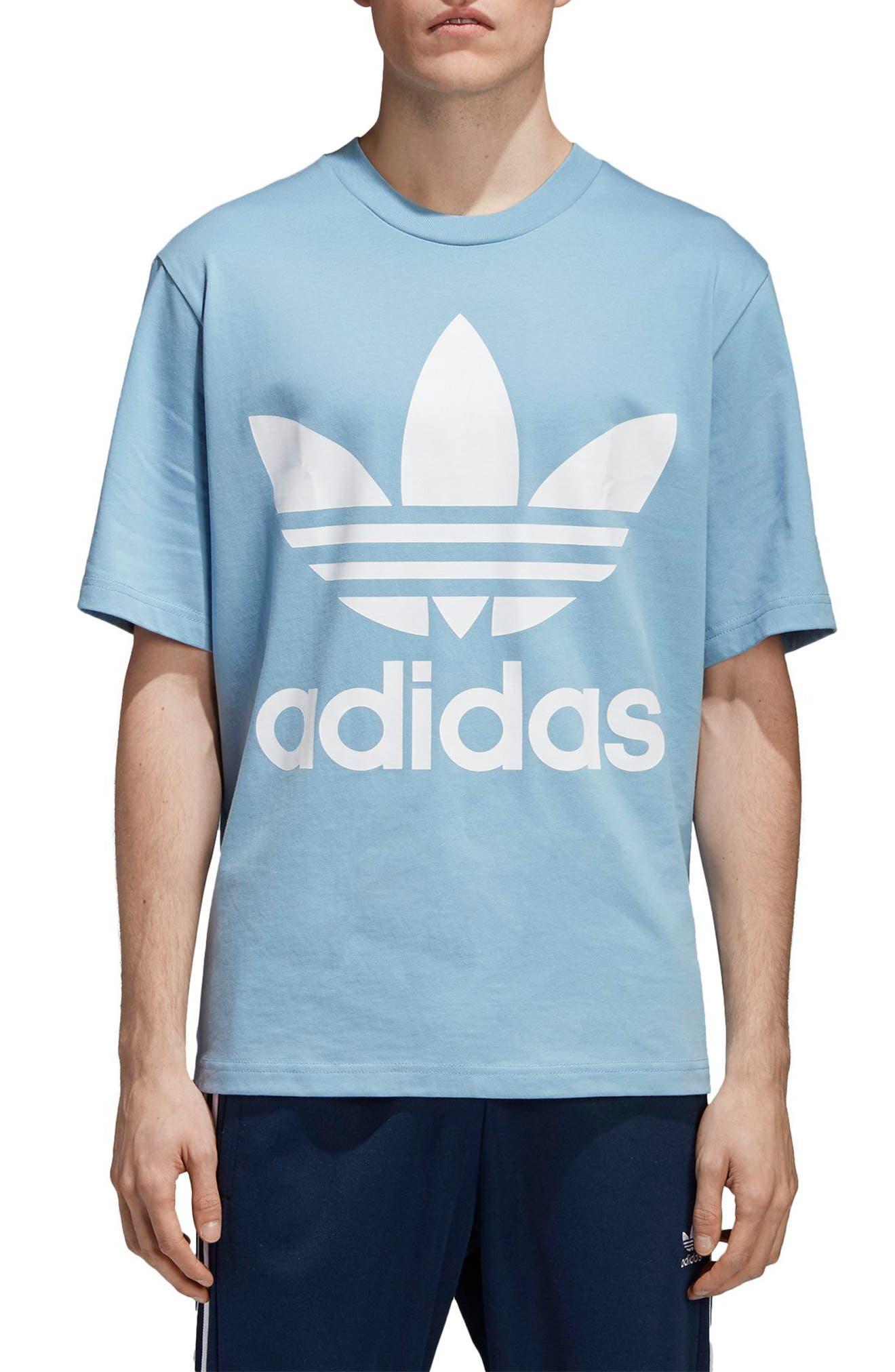 Oversized Trefoil Logo T-Shirt,                         Main,                         color, Ash Blue