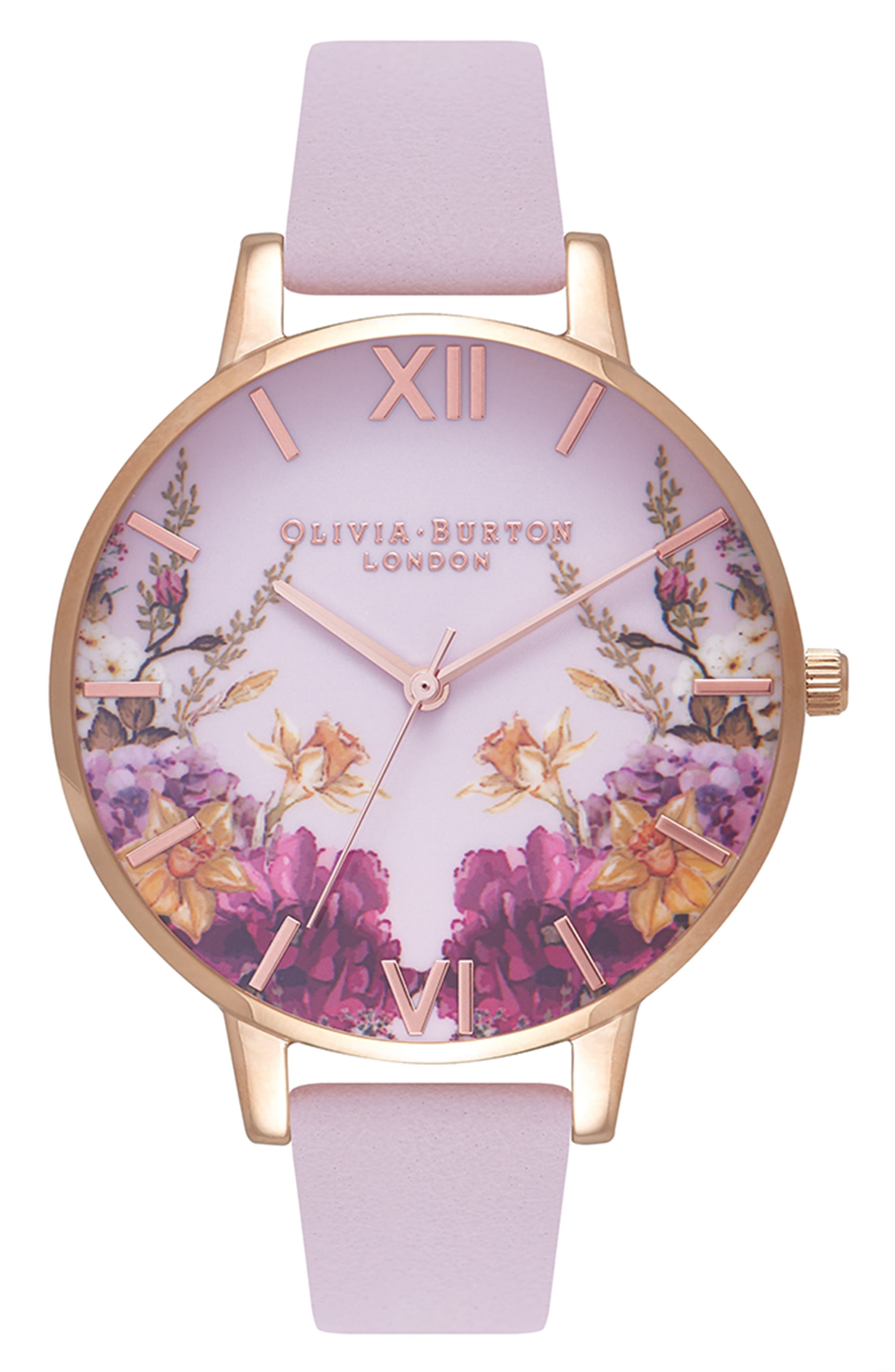 Enchanted Garden Leather Strap Watch, 38mm,                             Main thumbnail 1, color,                             Blossom/ Pink/ Rose Gold