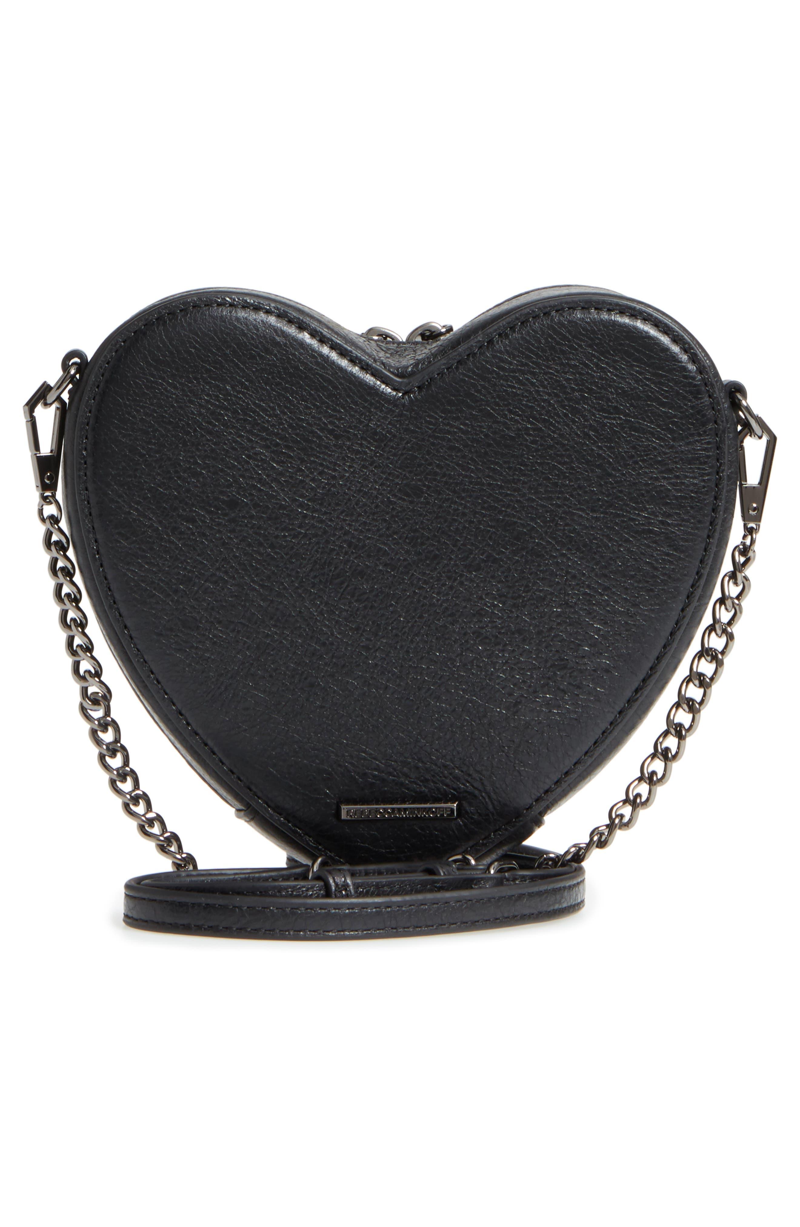 Jamie Heart Leather Crossbody Bag,                             Alternate thumbnail 3, color,                             Black