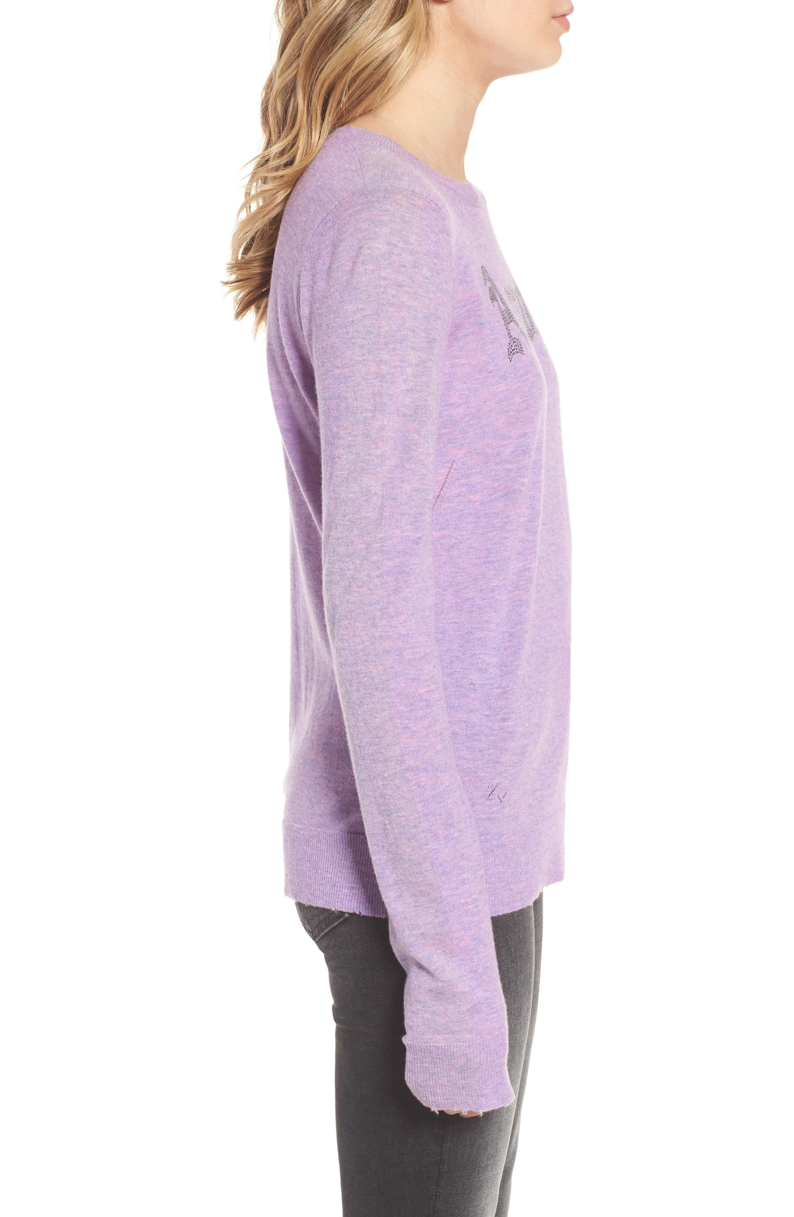 Miss Bis Cashmere Sweater,                             Alternate thumbnail 3, color,                             Lilac