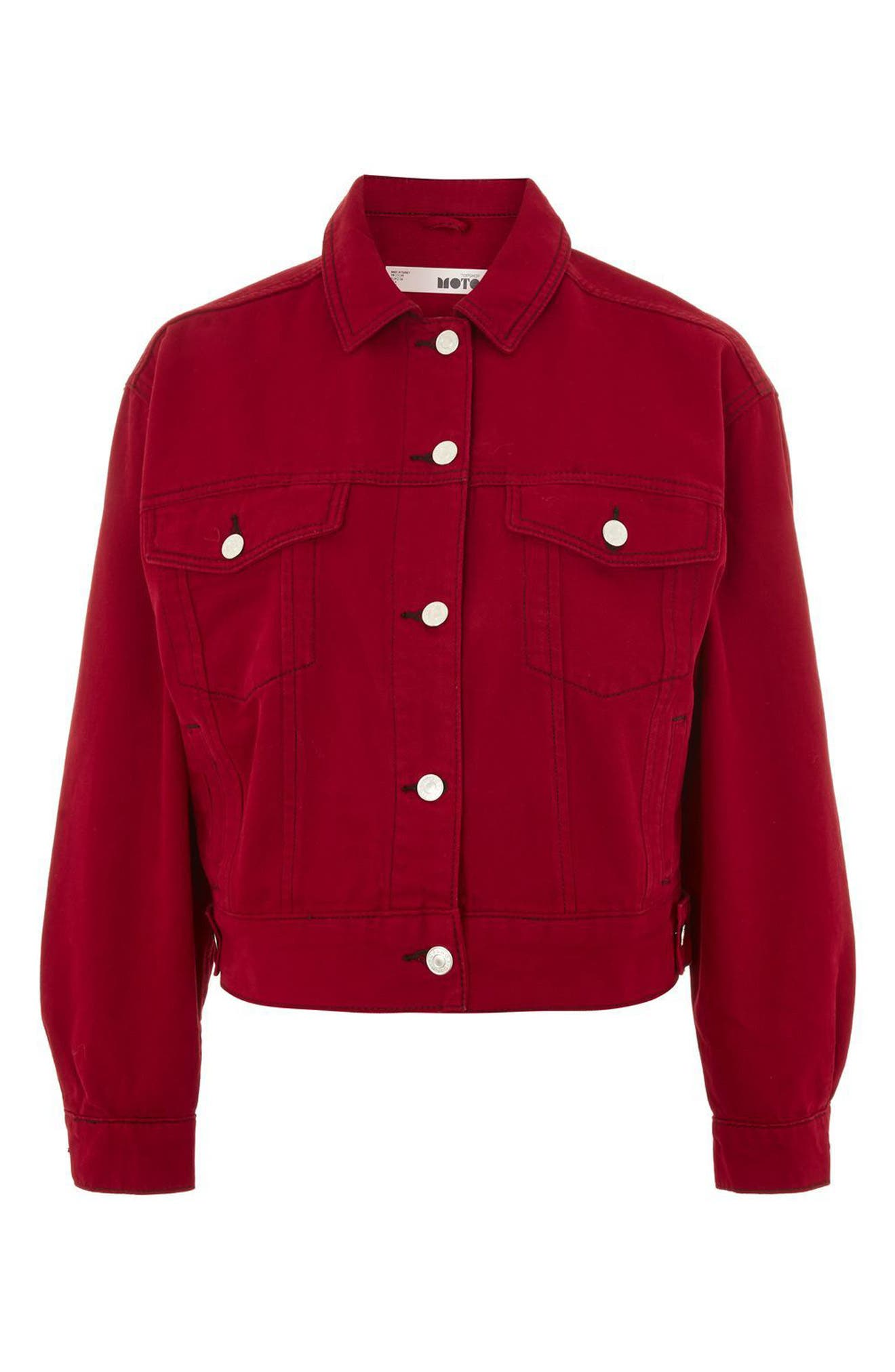 Boxy Denim Jacket,                             Alternate thumbnail 5, color,                             Red