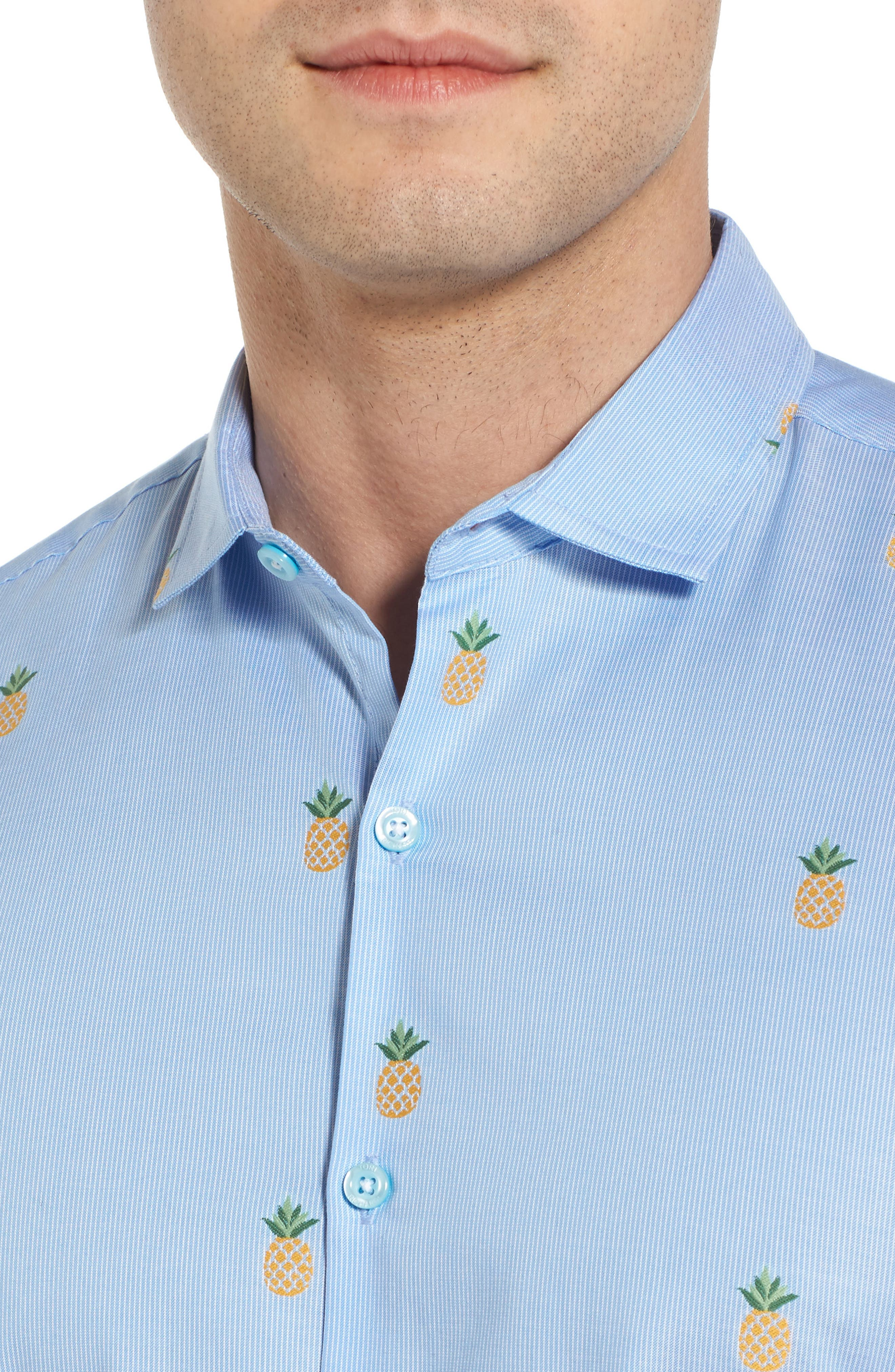 Dole 'N' Row Trim Fit Embroidered Sport Shirt,                             Alternate thumbnail 4, color,                             Blue