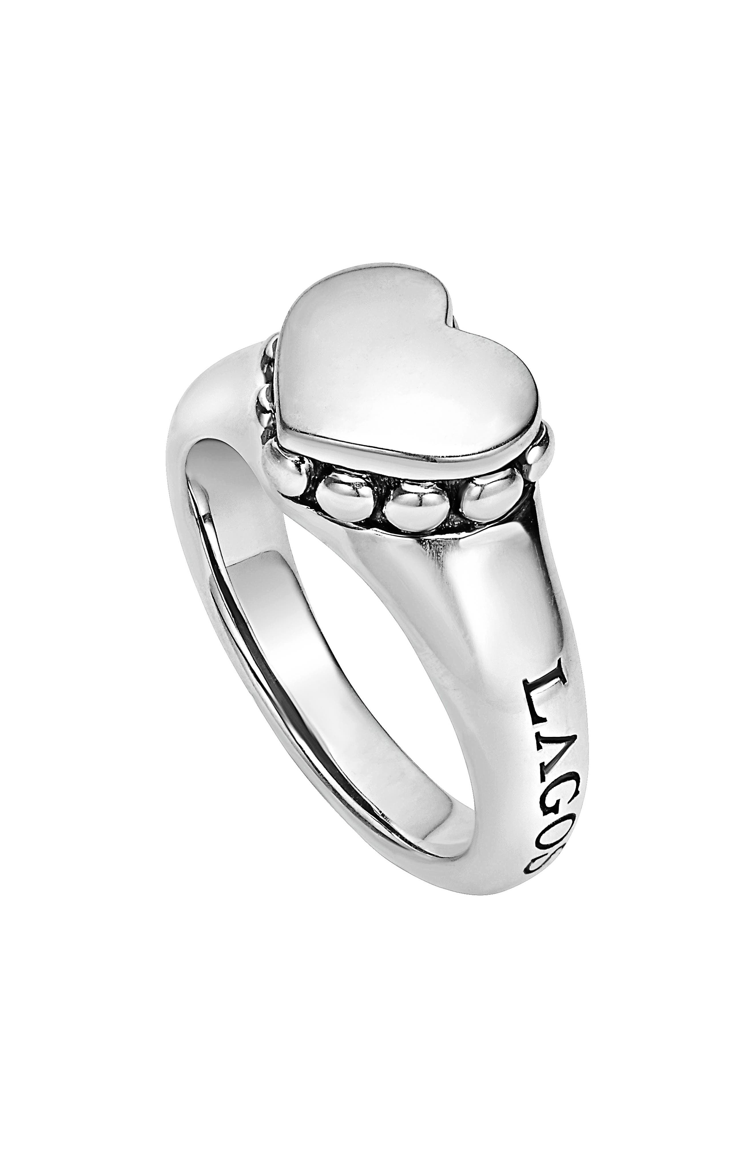 'Beloved' Small Heart Ring,                         Main,                         color, Sterling Silver