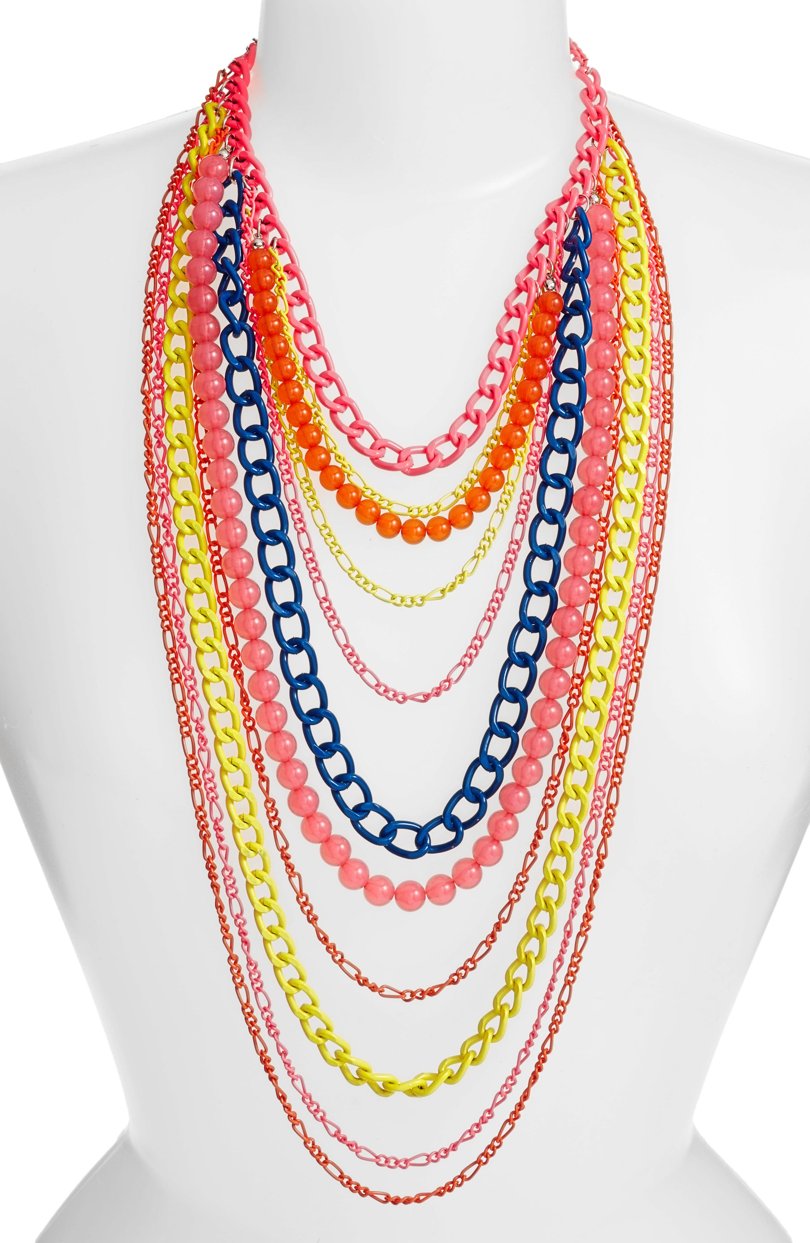 Layered Link Necklace,                         Main,                         color, Multi
