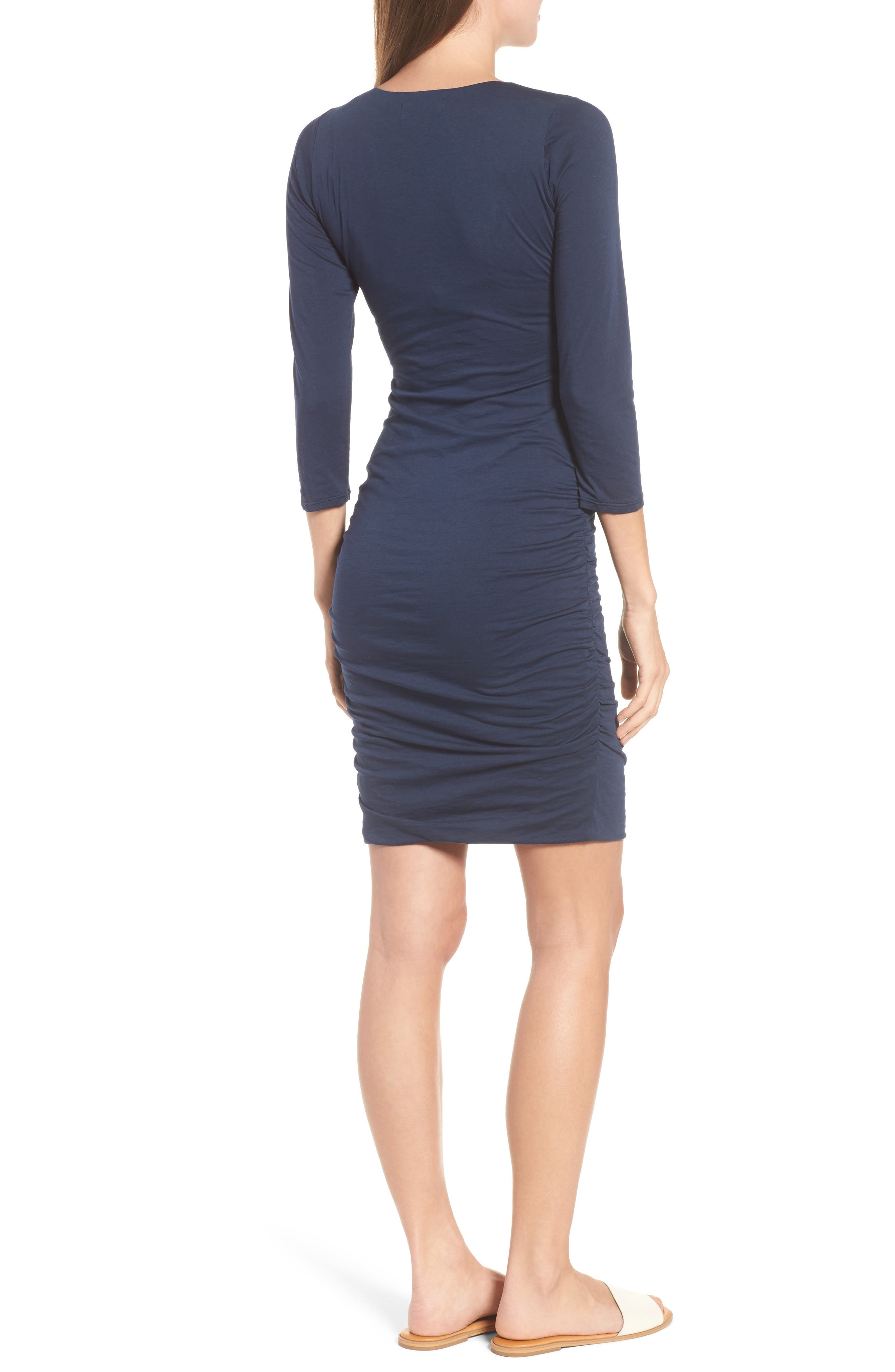 Whisper Lace-Up Body-Con Dress,                             Alternate thumbnail 2, color,                             Midnight