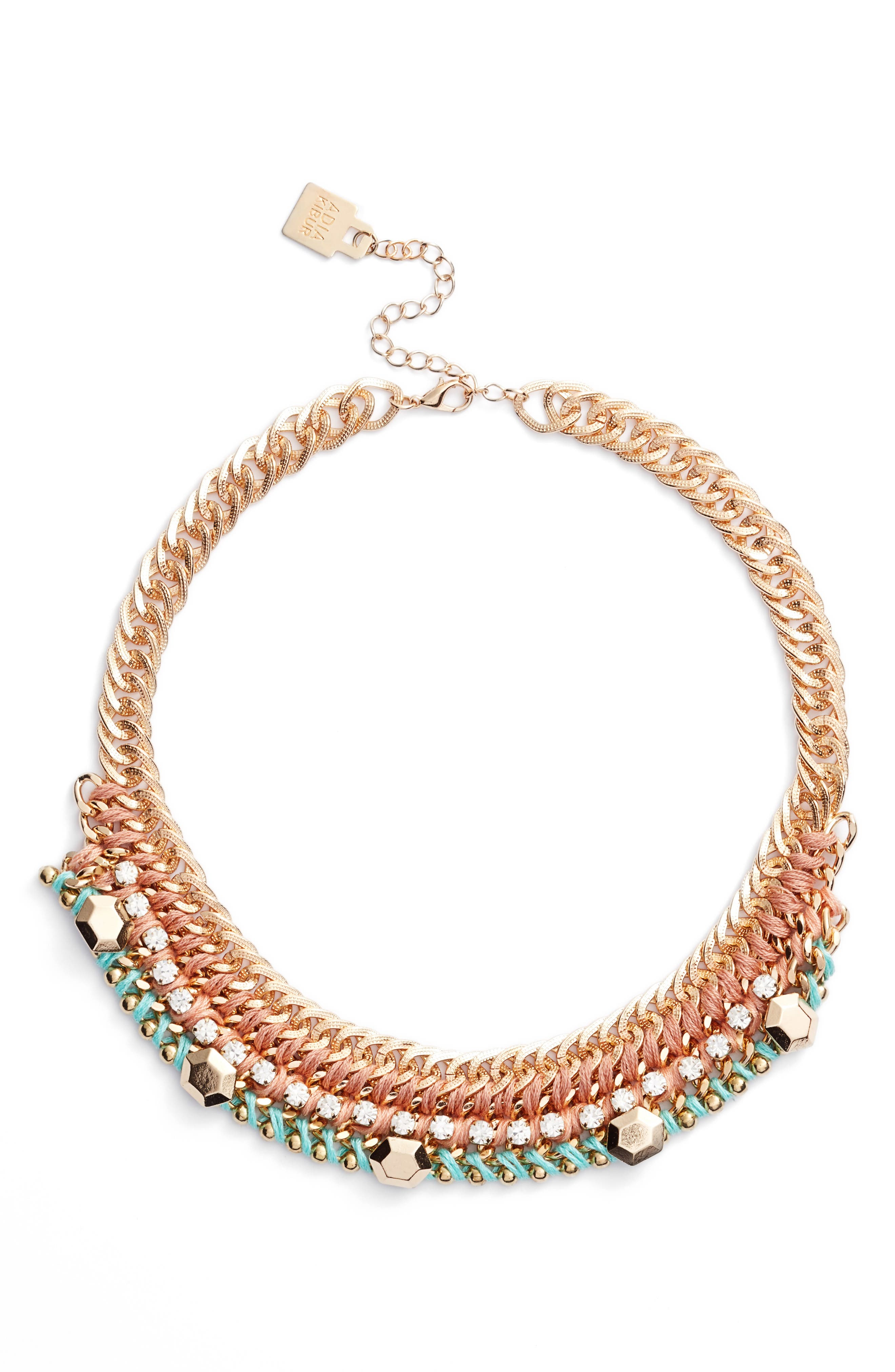 Braided Chain Necklace,                             Main thumbnail 1, color,                             Pink/ Mint
