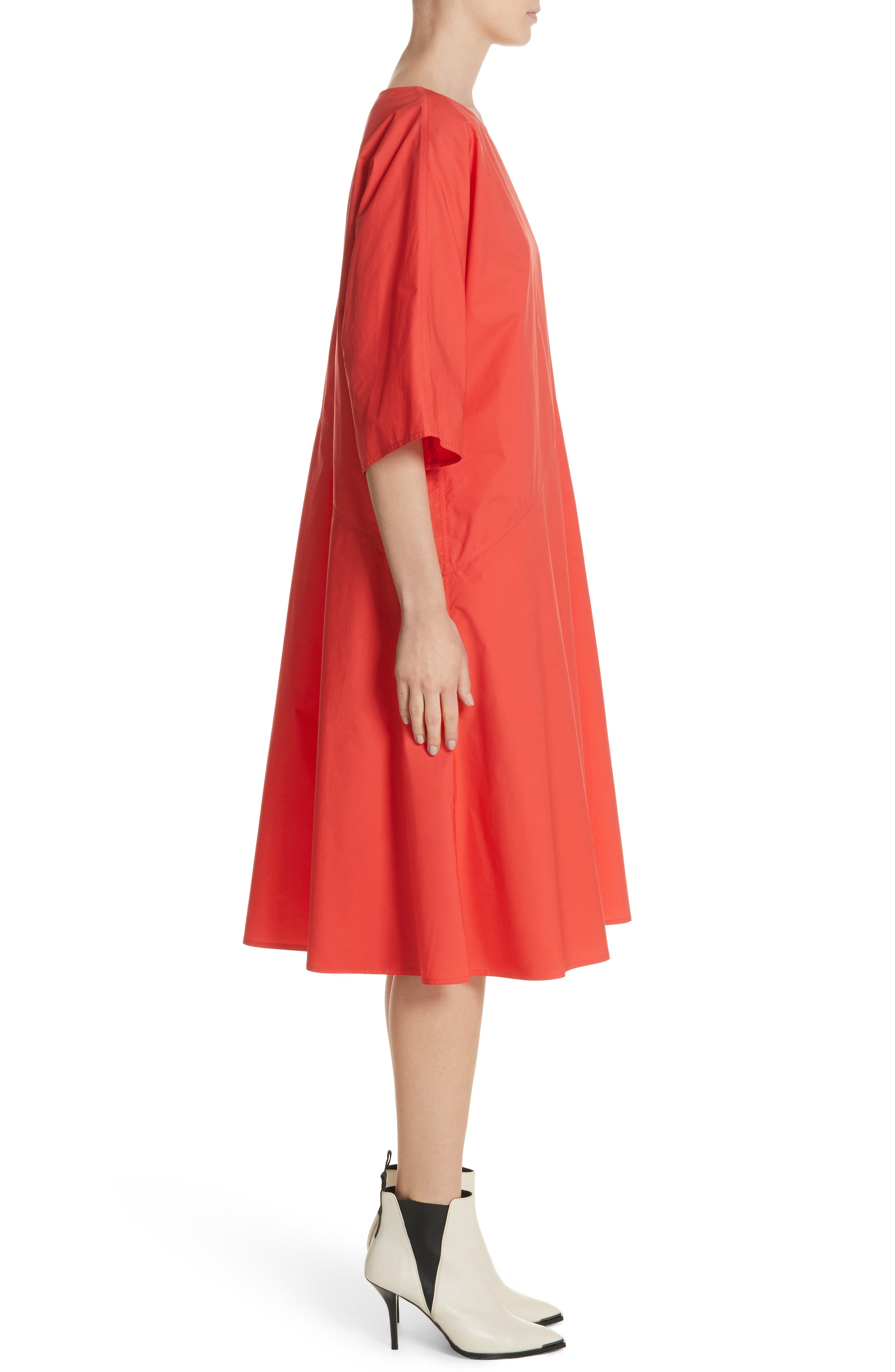 Diagonal Waist Dress,                             Alternate thumbnail 3, color,                             Poppy