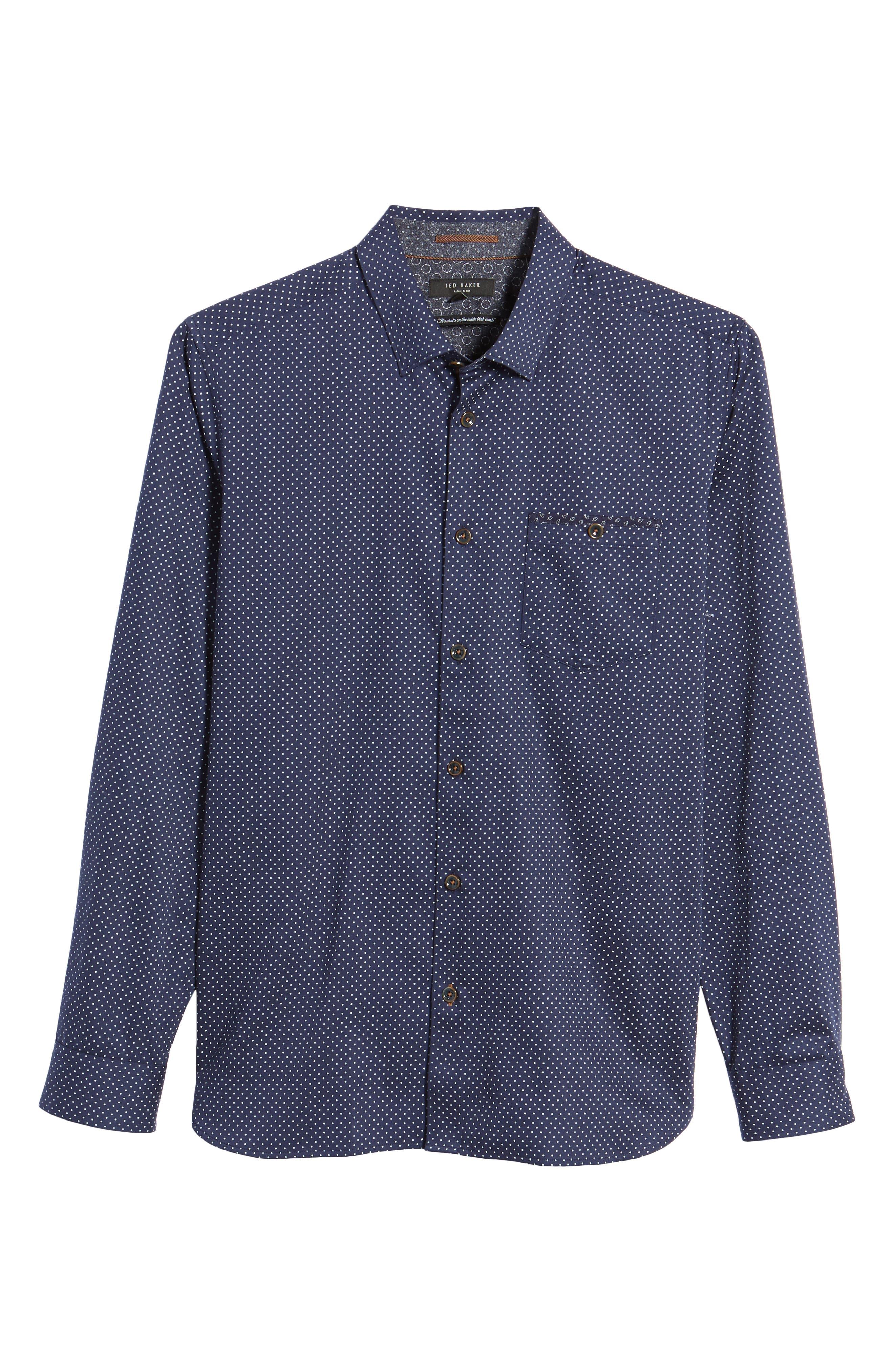 Skwere Trim Fit Sport Shirt,                             Alternate thumbnail 5, color,                             Navy