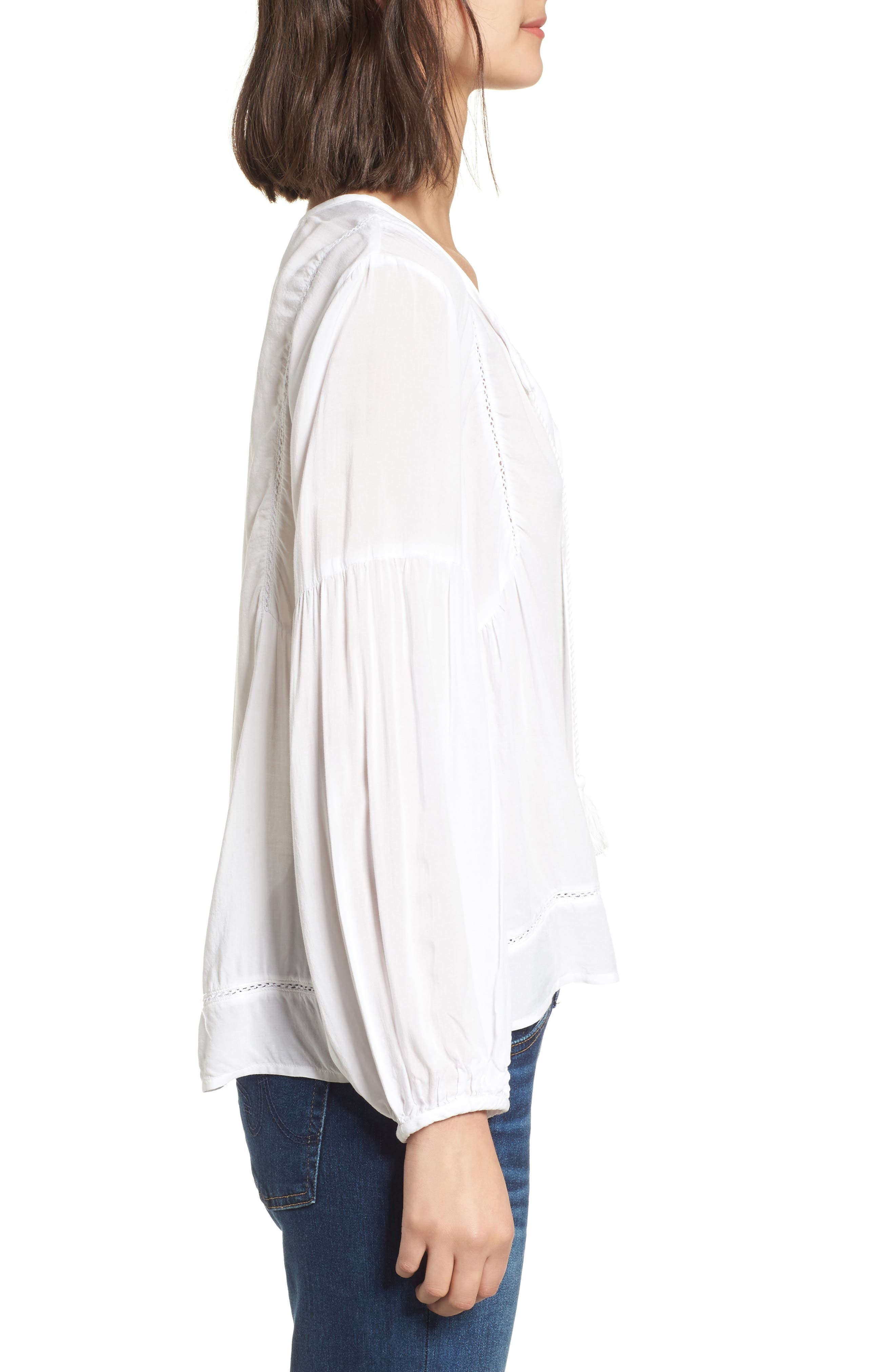 Tassel Woven Blouse,                             Alternate thumbnail 3, color,                             White