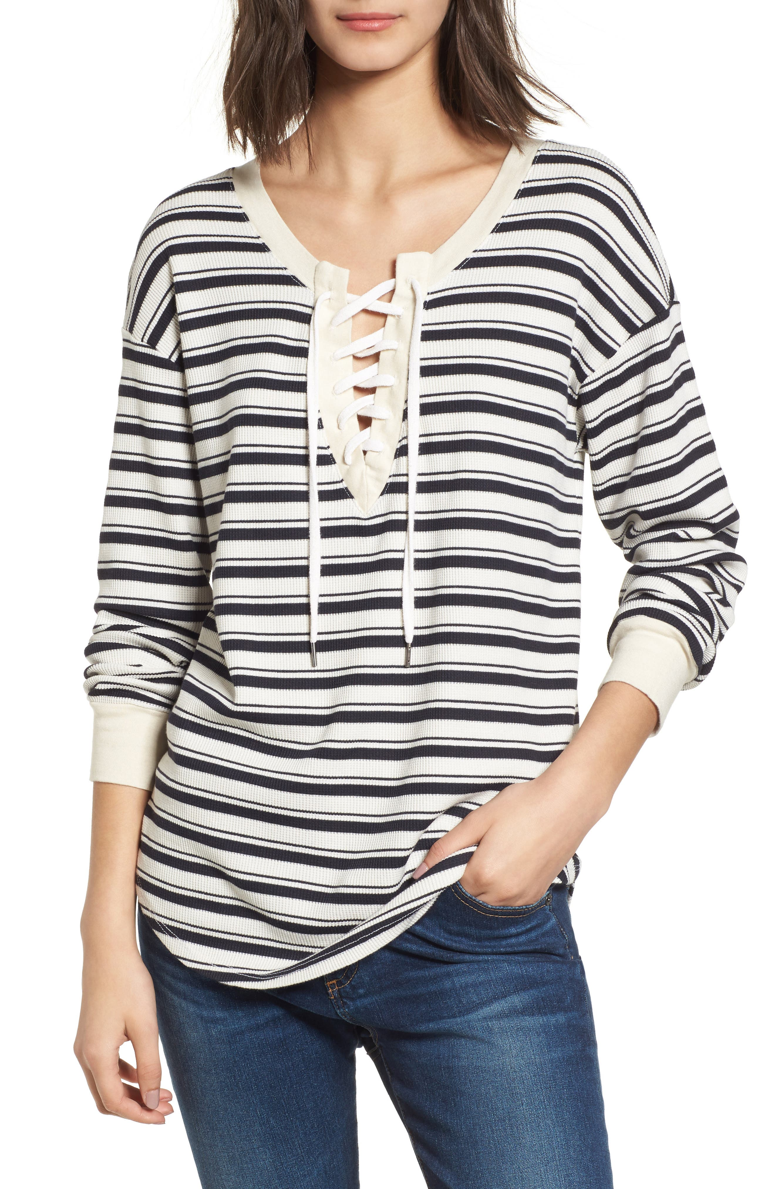 Stripe Lace-Up Tee,                         Main,                         color, Navy