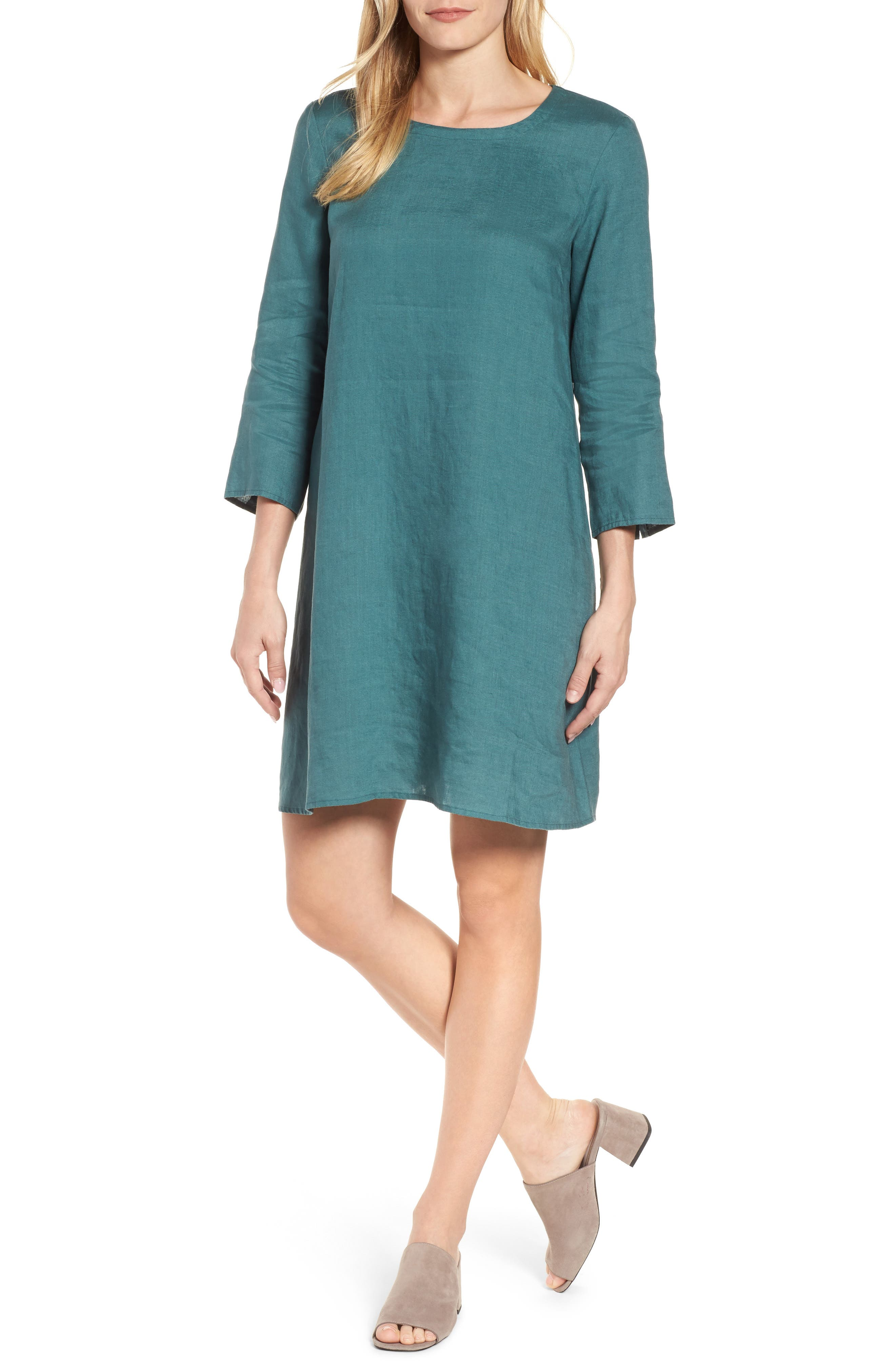 Organic Linen Round Neck Shift Dress,                         Main,                         color, Teal