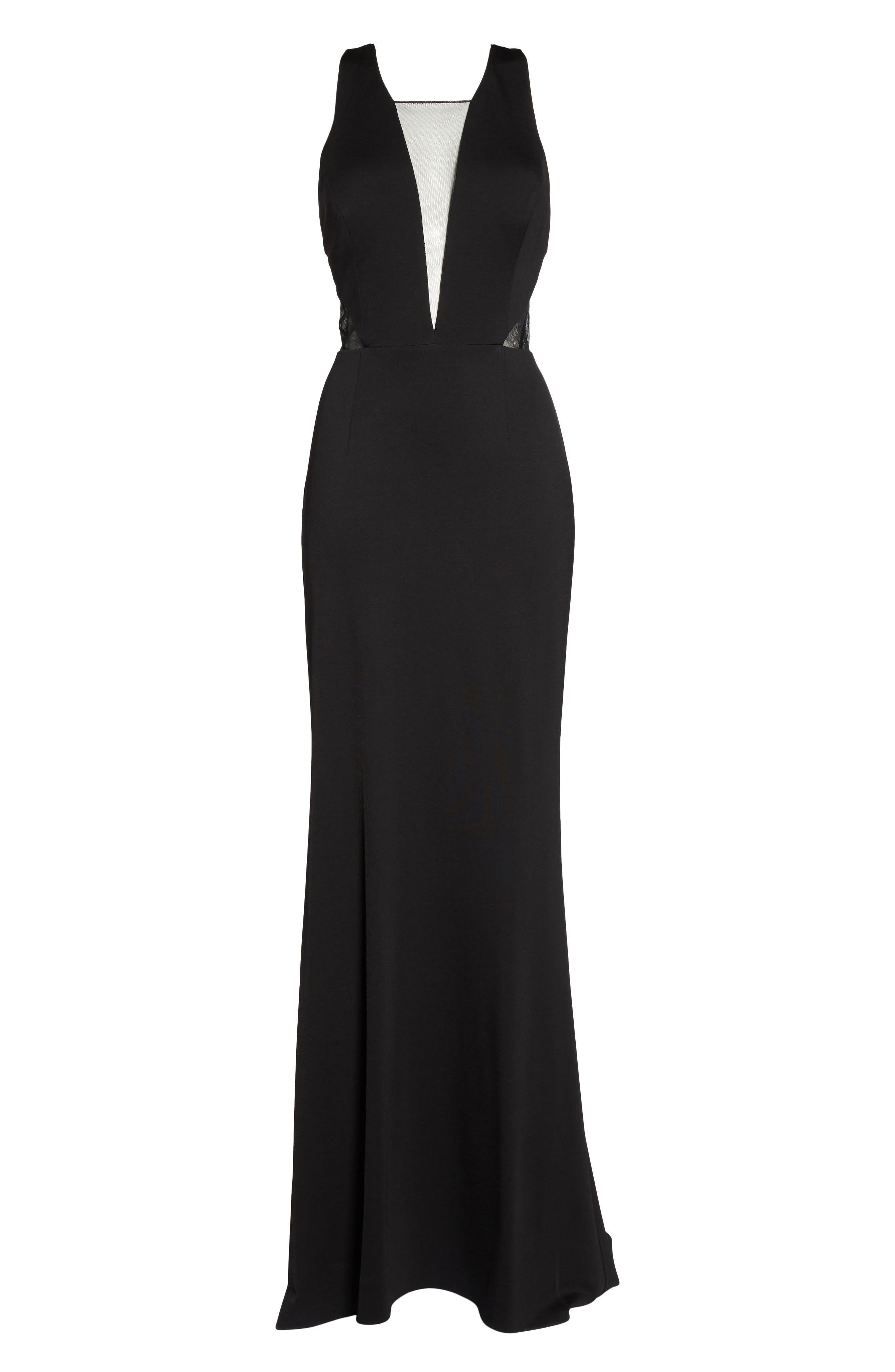 Lola Crossback Jersey Halter Gown,                             Alternate thumbnail 6, color,                             Black
