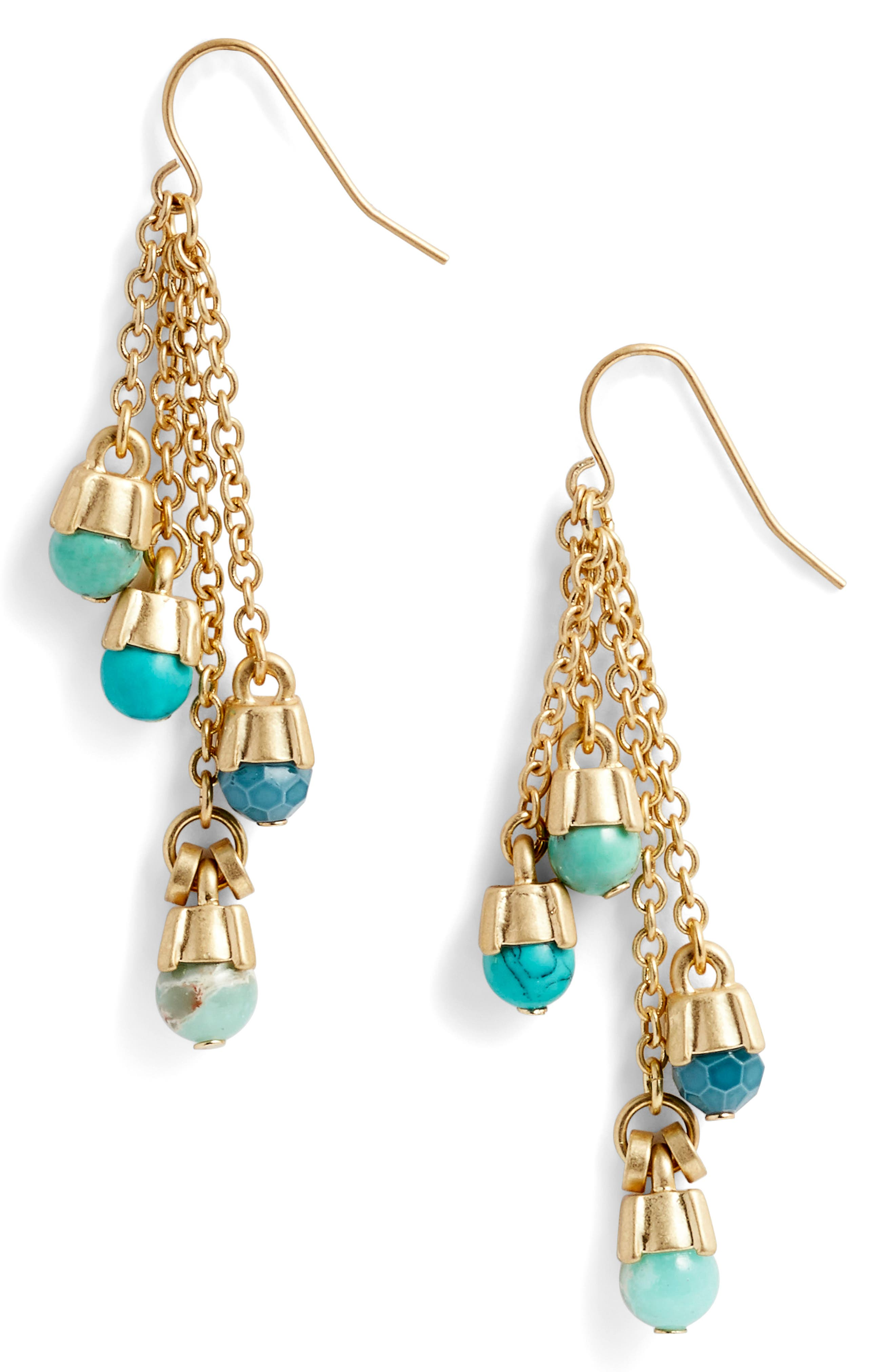 Four-Stone Linear Drop Earrings,                             Main thumbnail 1, color,                             Turquoise- Gold